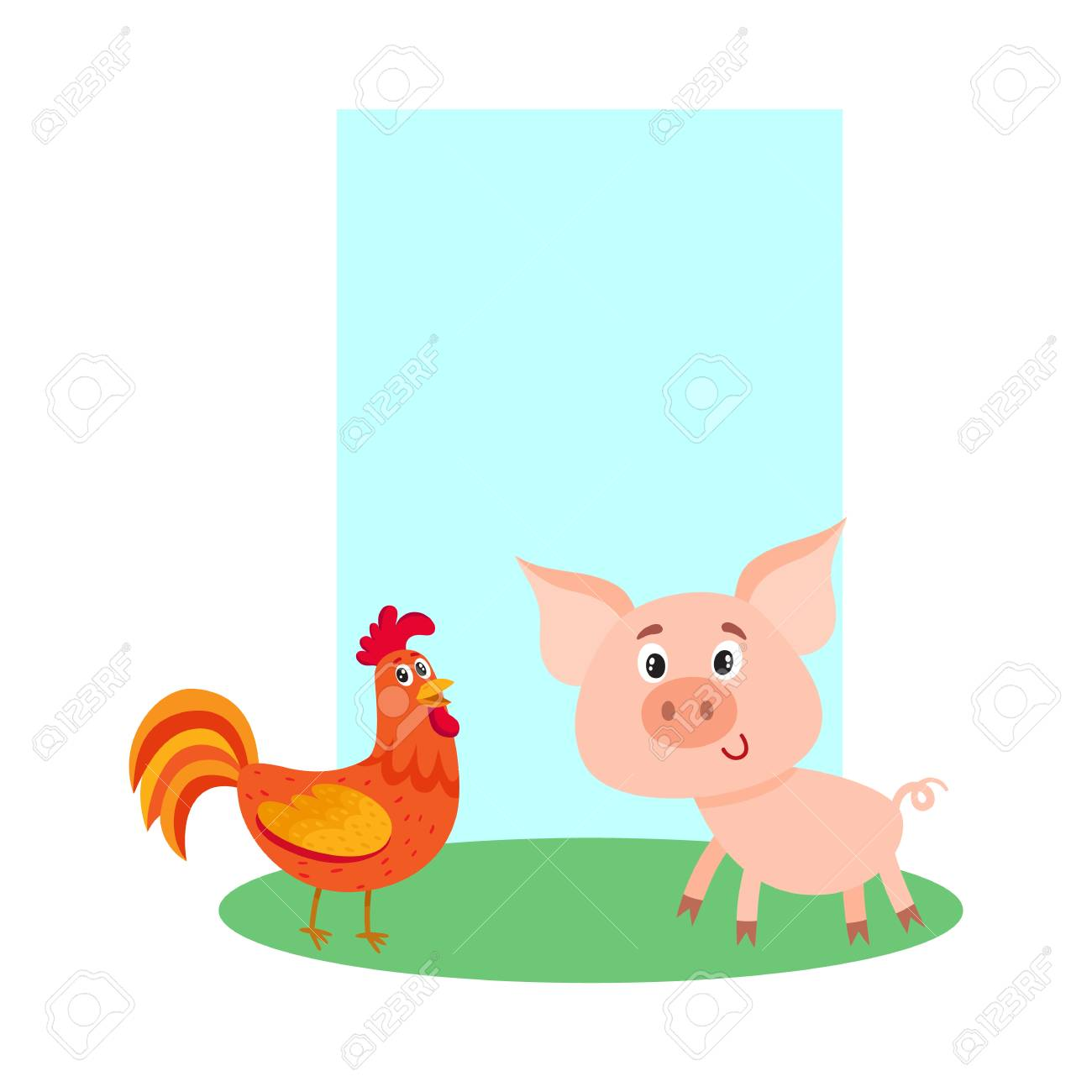 Poster, Label, Banner Template With Farm Baby Pig And Red Rooster ...