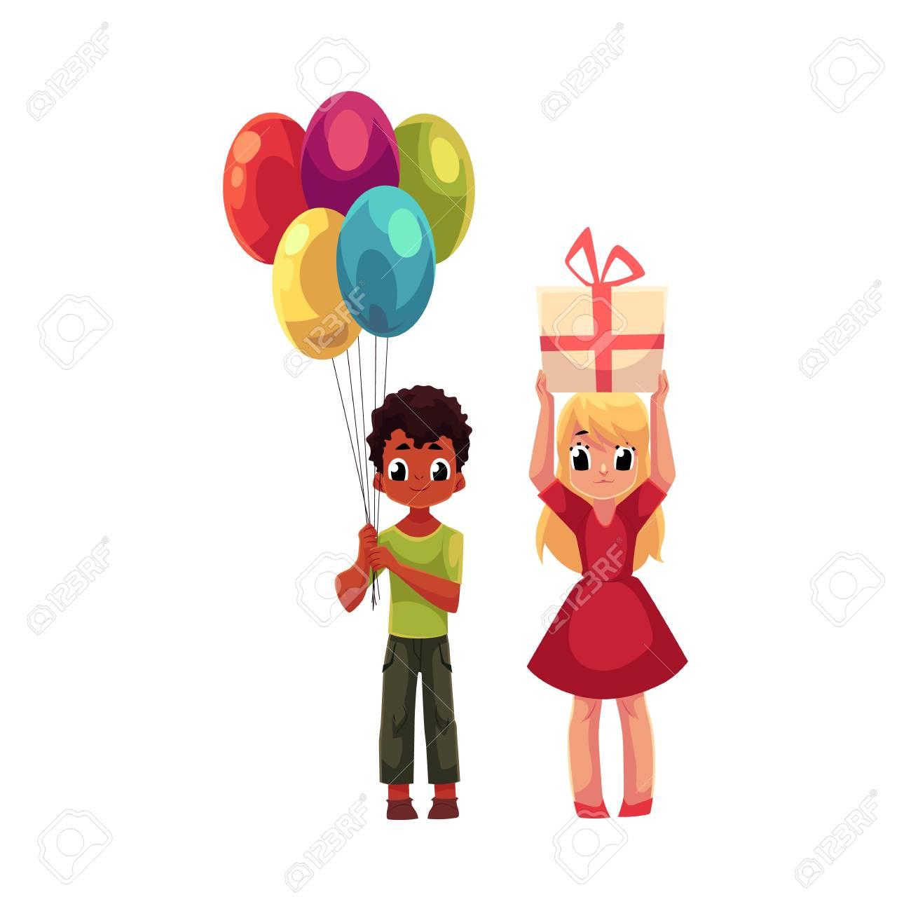 Garçon Noir Avec Bouquet De Ballons Et Blonde Fille Tenant Cadeau Danniversaire Bande Dessinée Illustration Vectorielle Isolé Sur Fond Blanc Deux