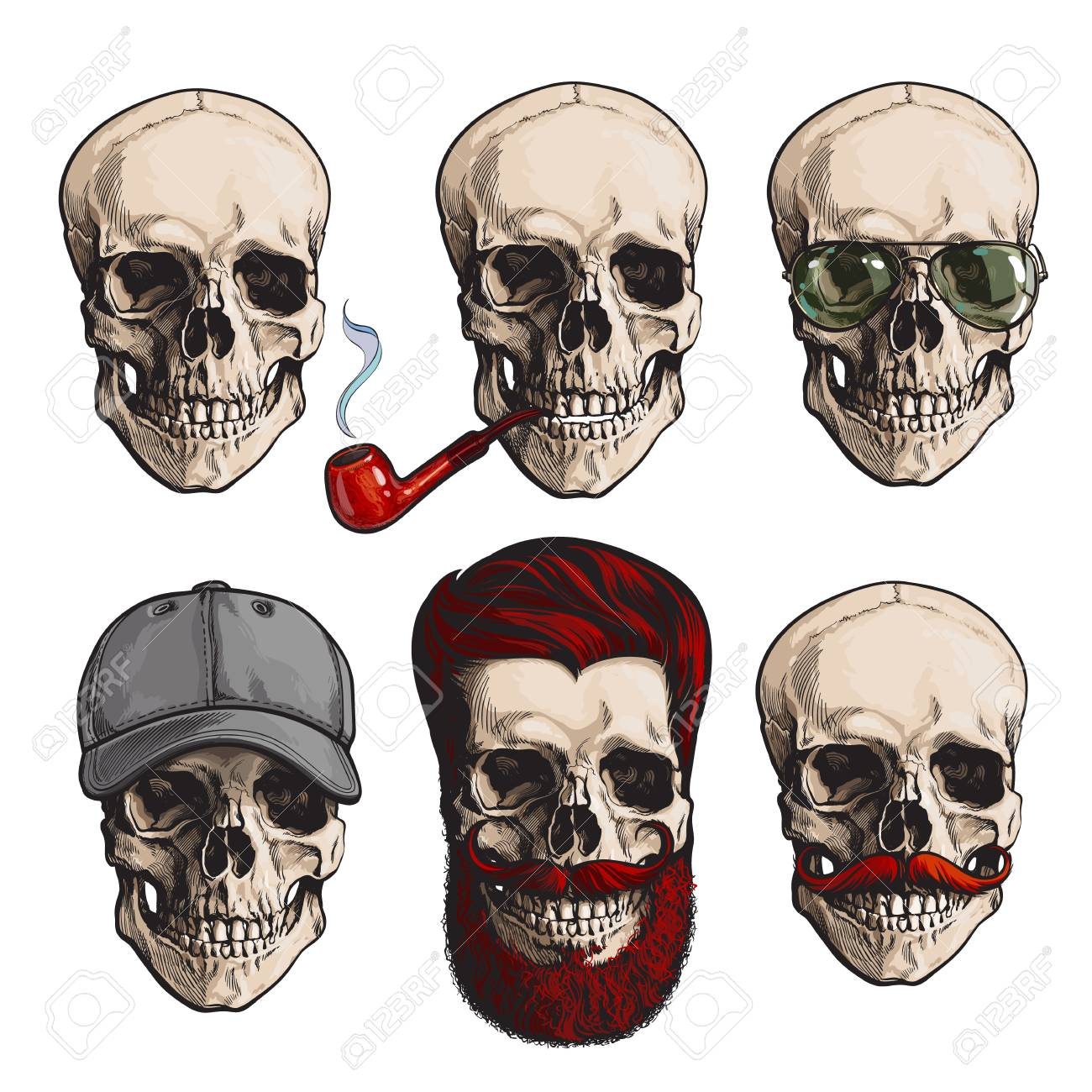 99b33d622b4 Set Of Human Skull Bones With Sunglasses