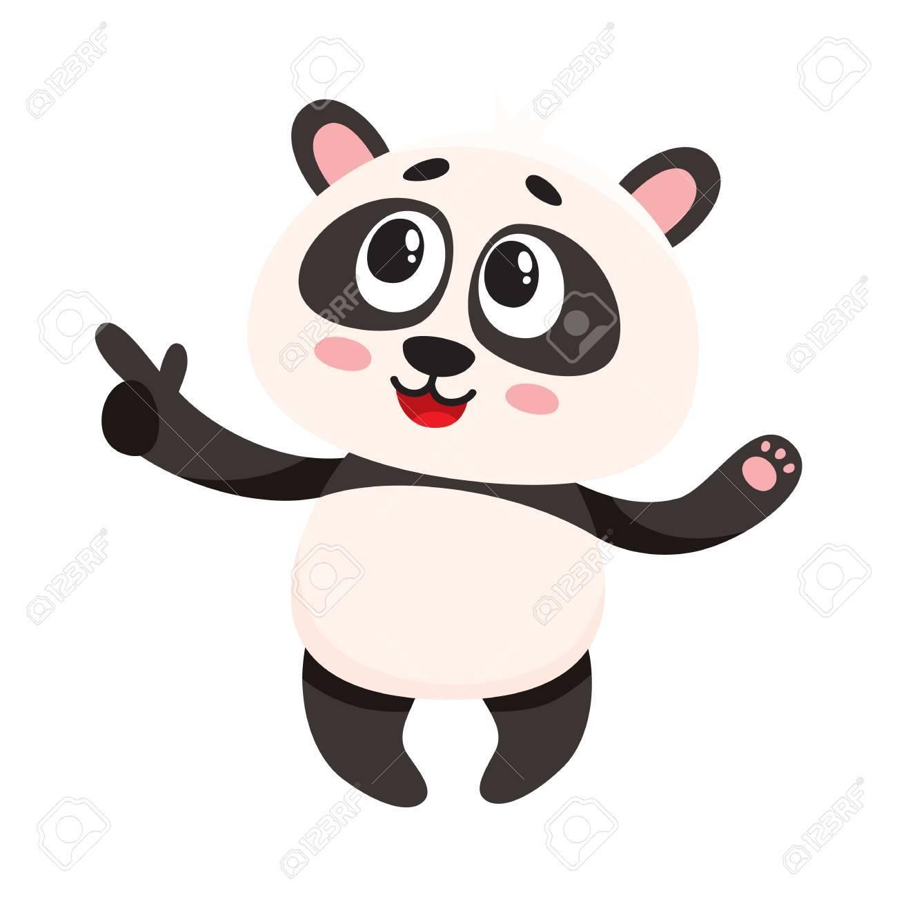 Drole Souriant Bebe Panda Caractere Pointant Vers Quelque Chose Avec