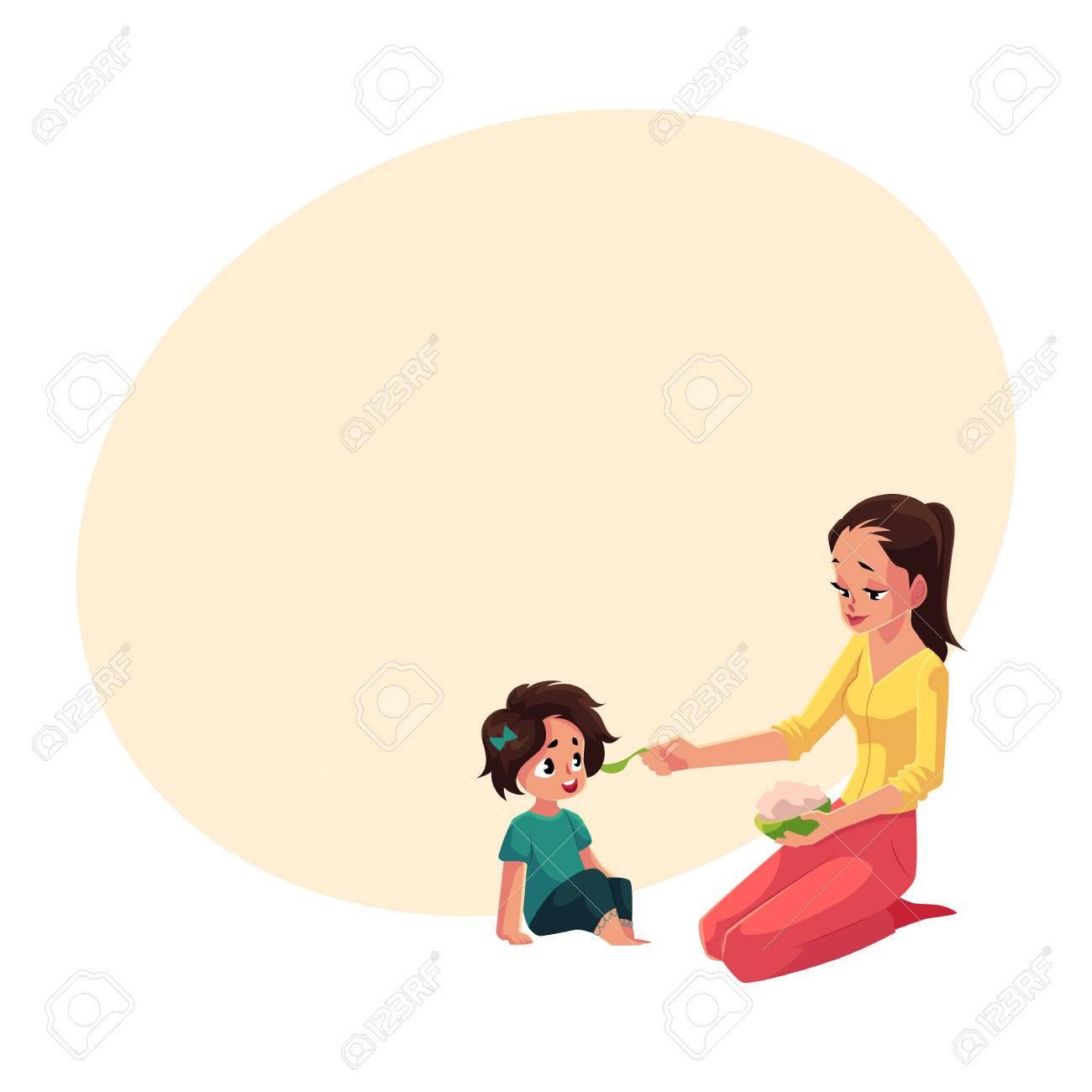 Mère Cuillère Nourrir Sa Petite Fille Assise Sur Le Sol Illustration De Vecteur De Dessin Animé Avec Un Espace Pour Le Texte Mère Maman Tenant Un