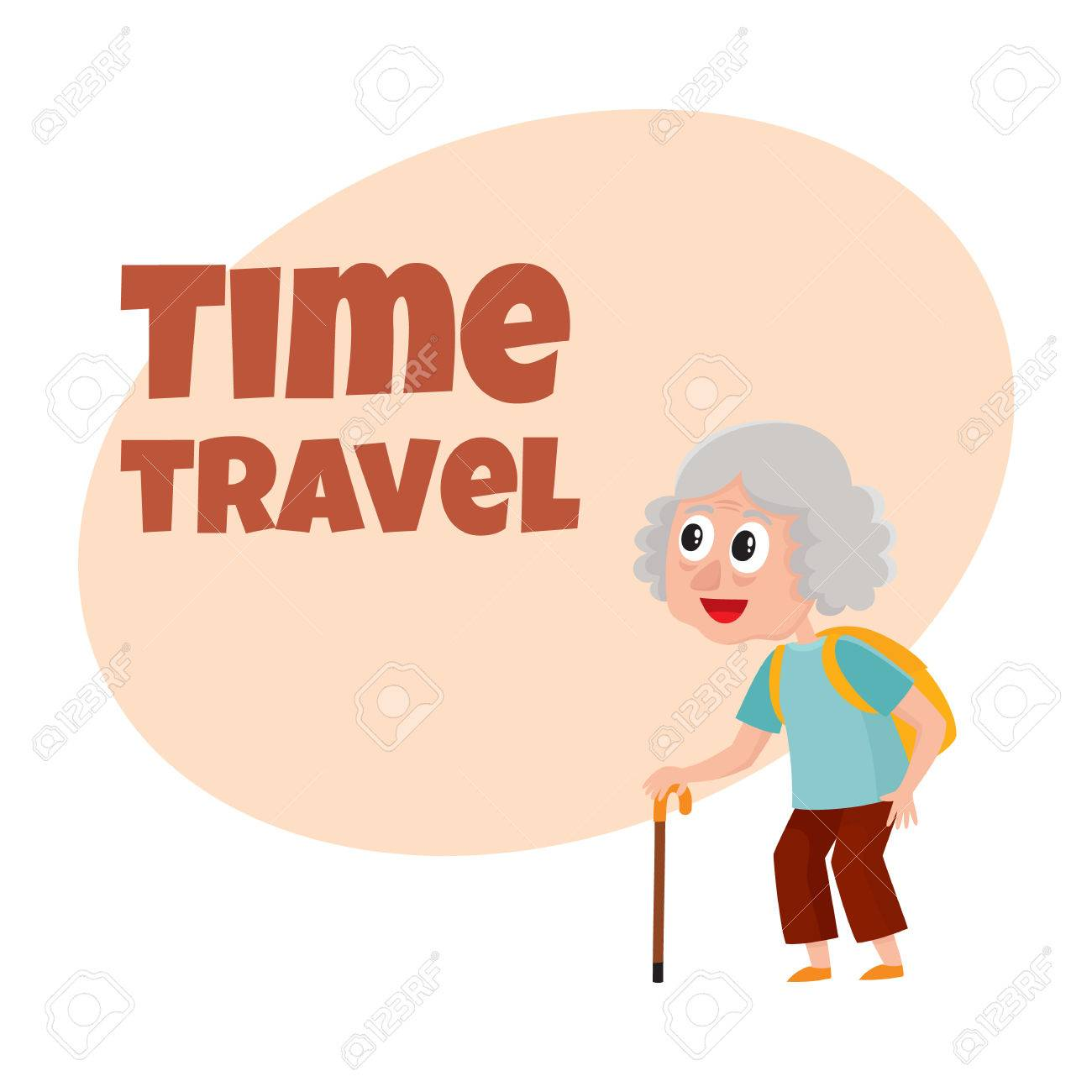 Travel Time Poster Banner Postcard Design With Senior Woman - Portrait postcard template