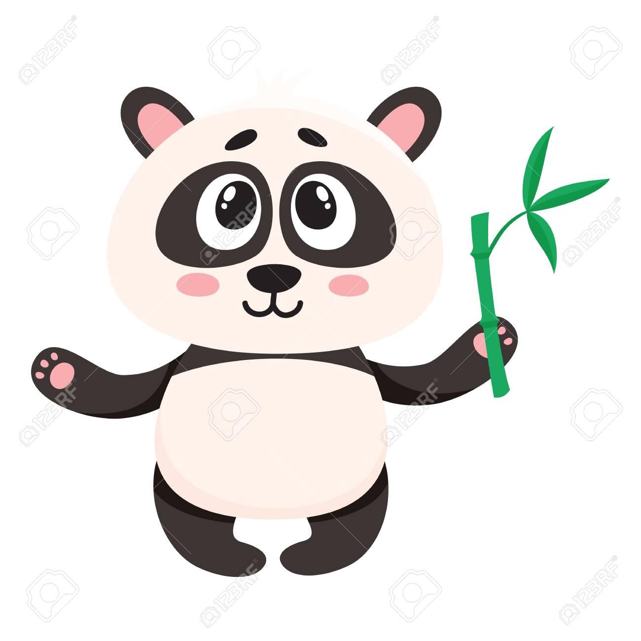 Mignon Et Drole Personnage De Bebe Panda Souriant Tenant Une Branche