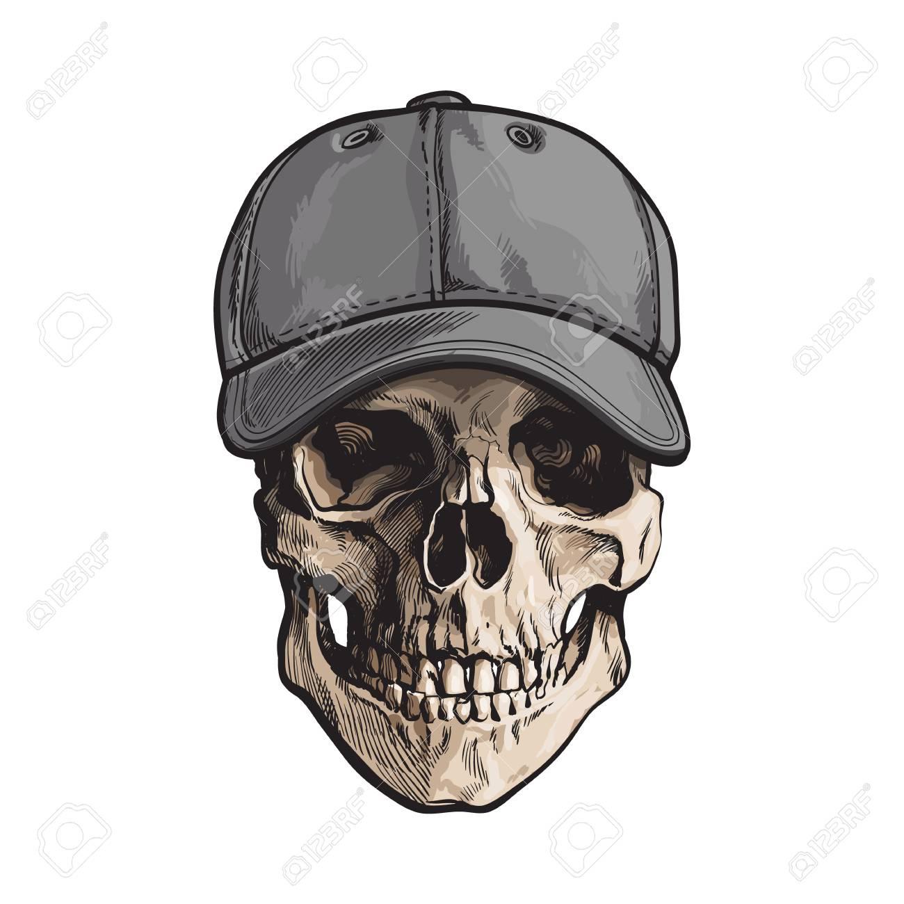 Cráneo Humano Dibujado A Mano Que Lleva La Gorra De Béisbol Gris No ...