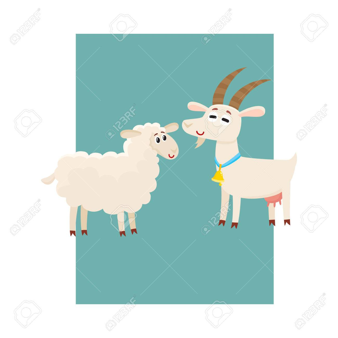 Poster, Label, Banner Template With Farm Smiling Goat And Sheep ...