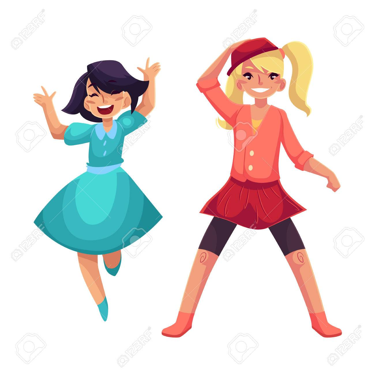 Two Girls Dancing At Party One In Blue Dress Another Wearing Skirt And Leggings