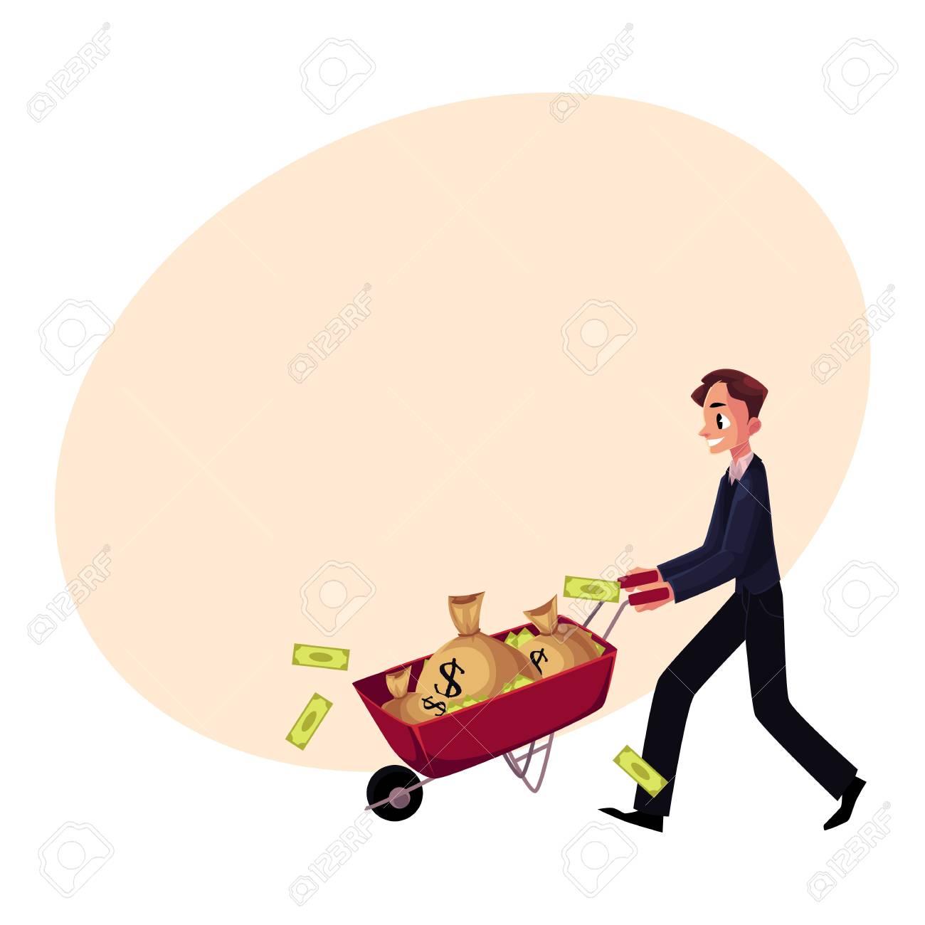 Struggling Retro Man Pushing Wheelbarrow Full Of Money in 2020 | Retro  illustration, Wheelbarrow, Clip art