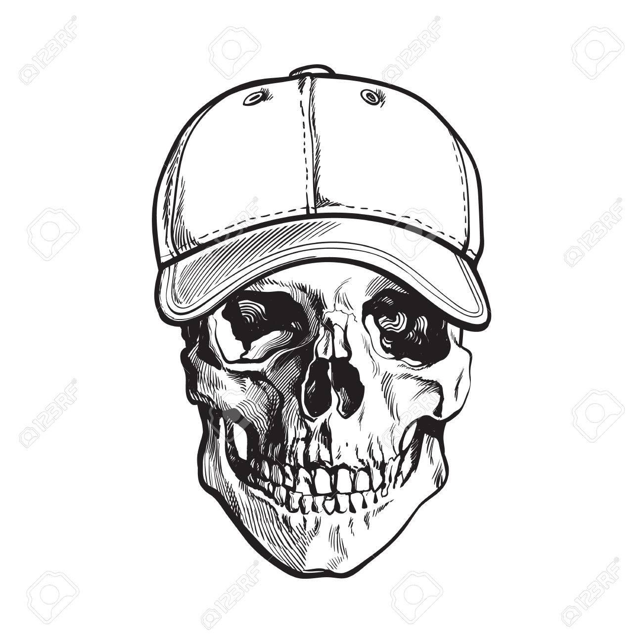 Cráneo Humano Dibujado A Mano Con Gorra De Béisbol Blanco Y Negro ...