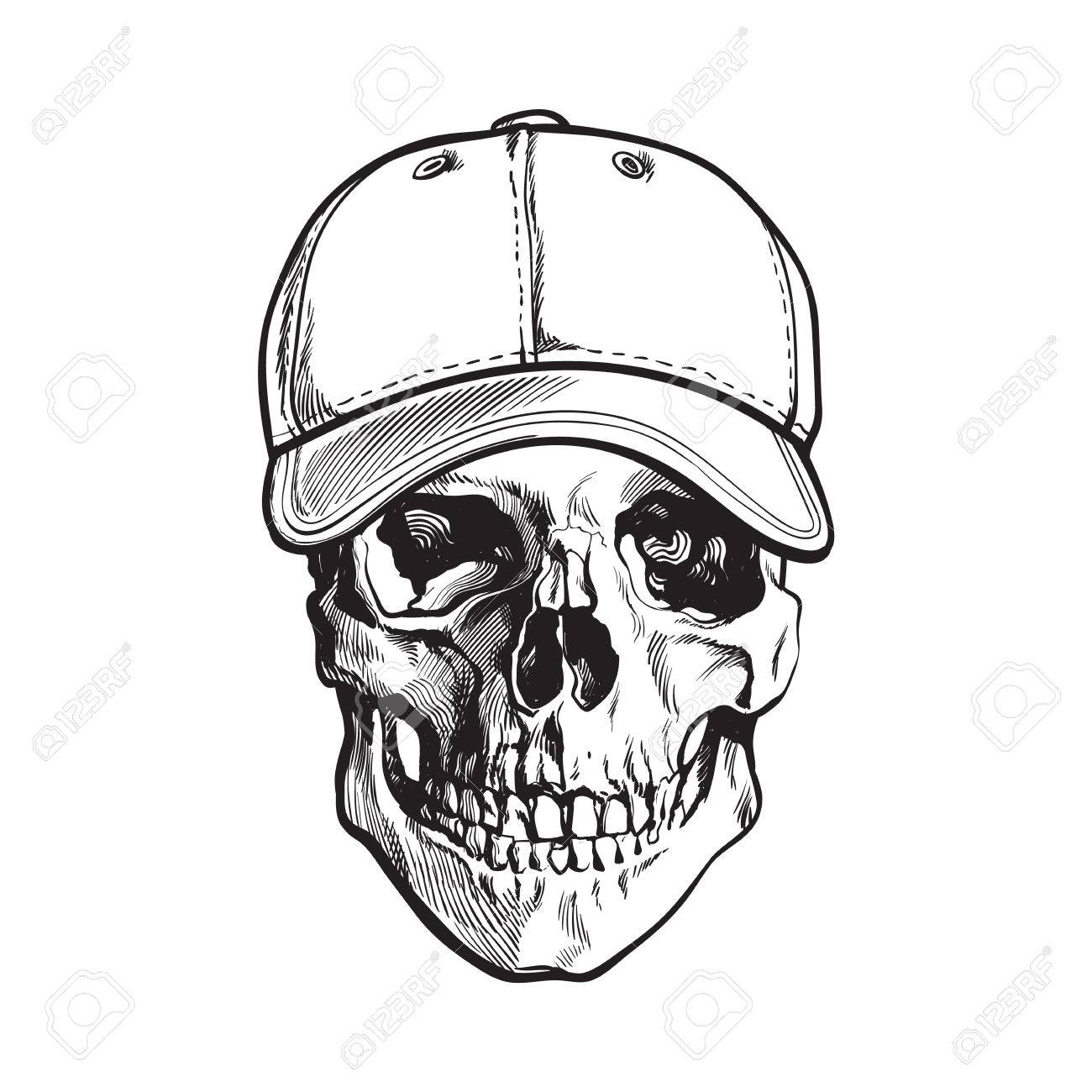 hand drawn human skull wearing black and white unlabelled baseball cap sketch vector illustration isolated