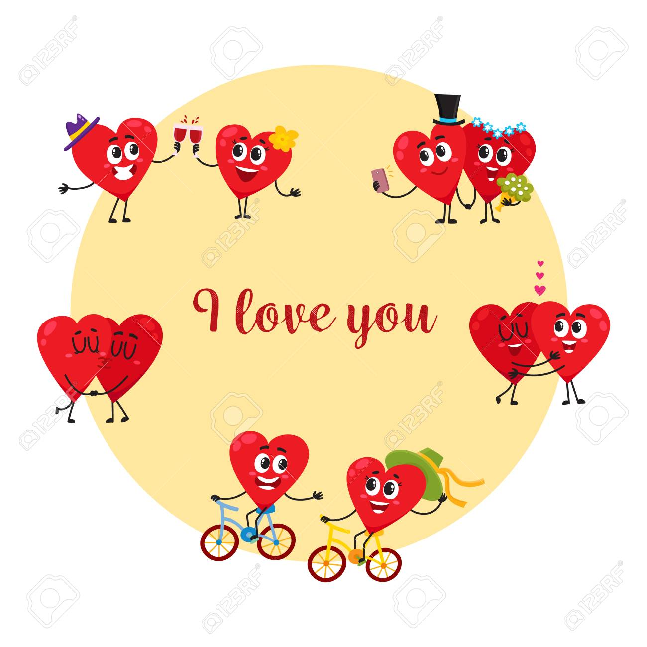 I love you greeting card postcard design with couples of loving i love you greeting card postcard design with couples of loving heart characters kristyandbryce Gallery