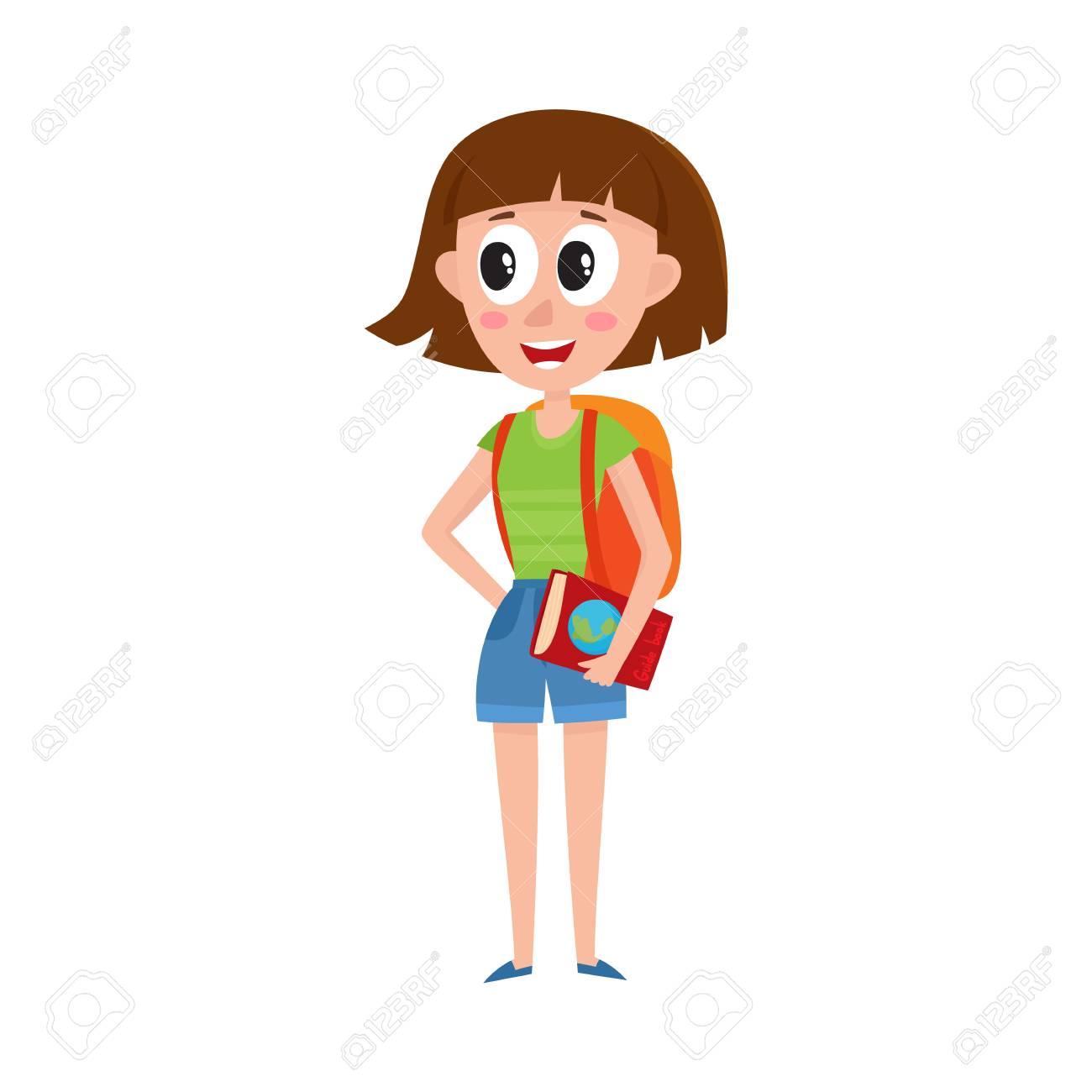 Mujer hermosa joven con bolsas de compras, ilustración vectorial de dibujos animados aislado sobre fondo blanco. Retrato de longitud completa de niña