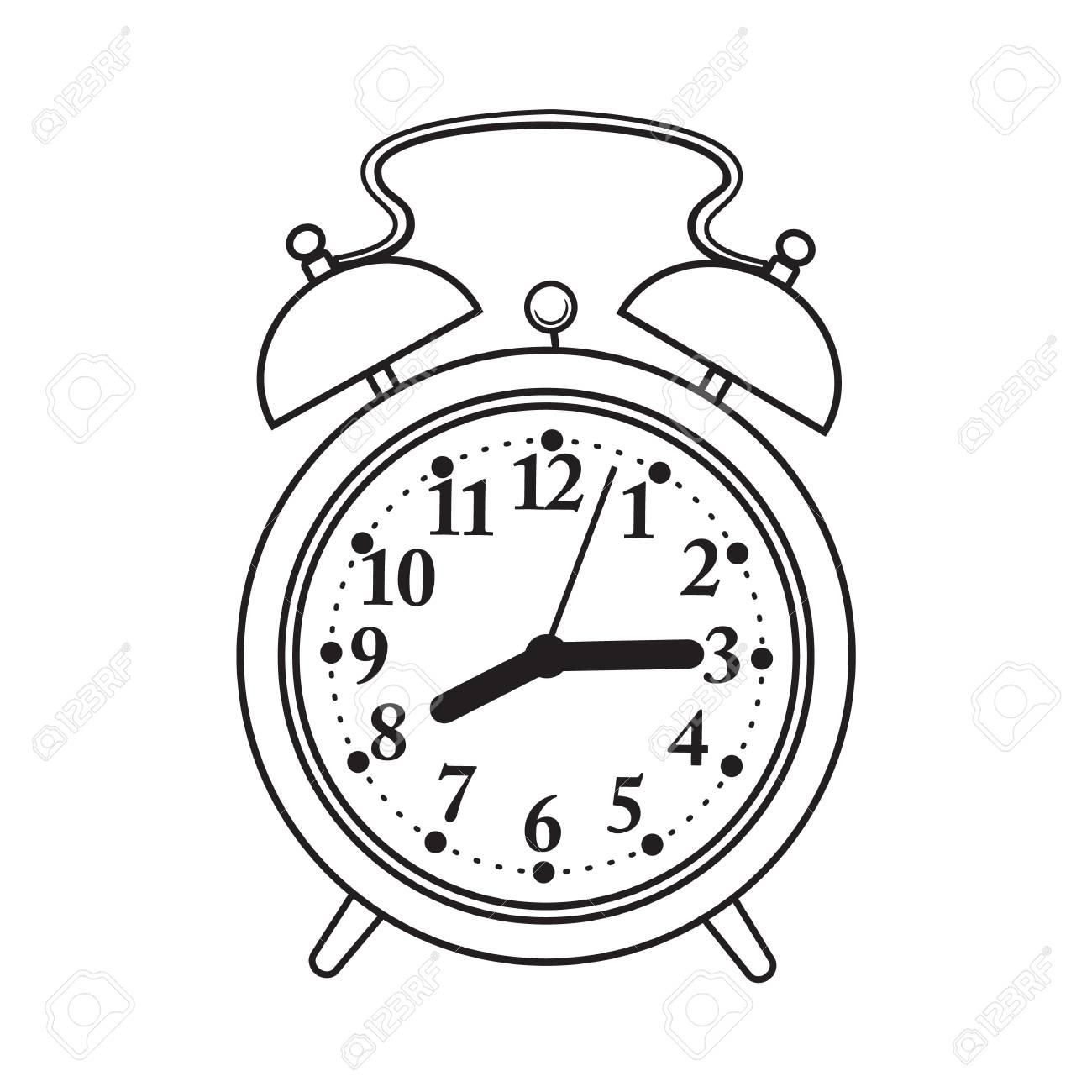 Retro style analog alarm clock, black and white sketch style