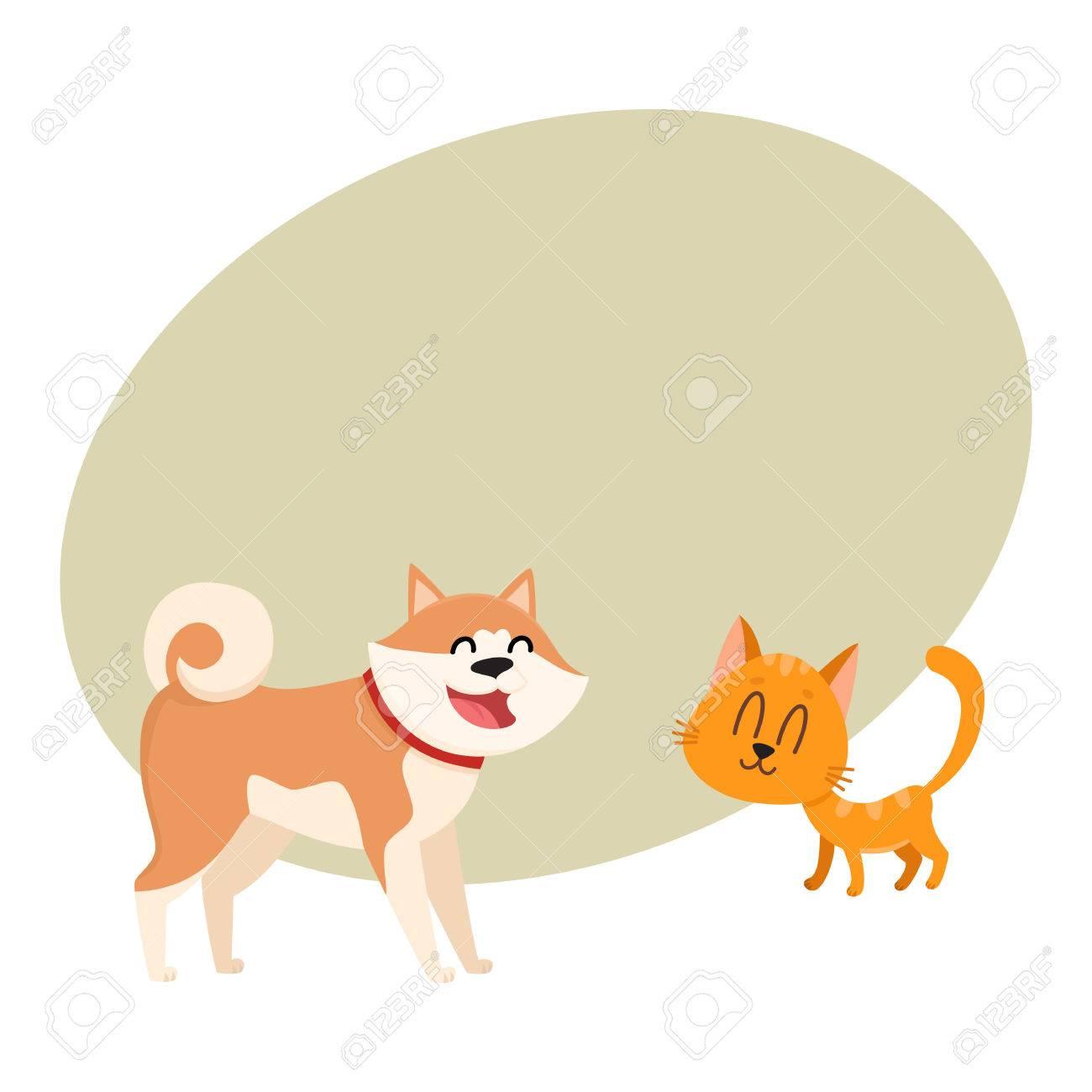 Akita Inu Perro Y Gato Rojo Gatito Caracteres El Amor La Amistad