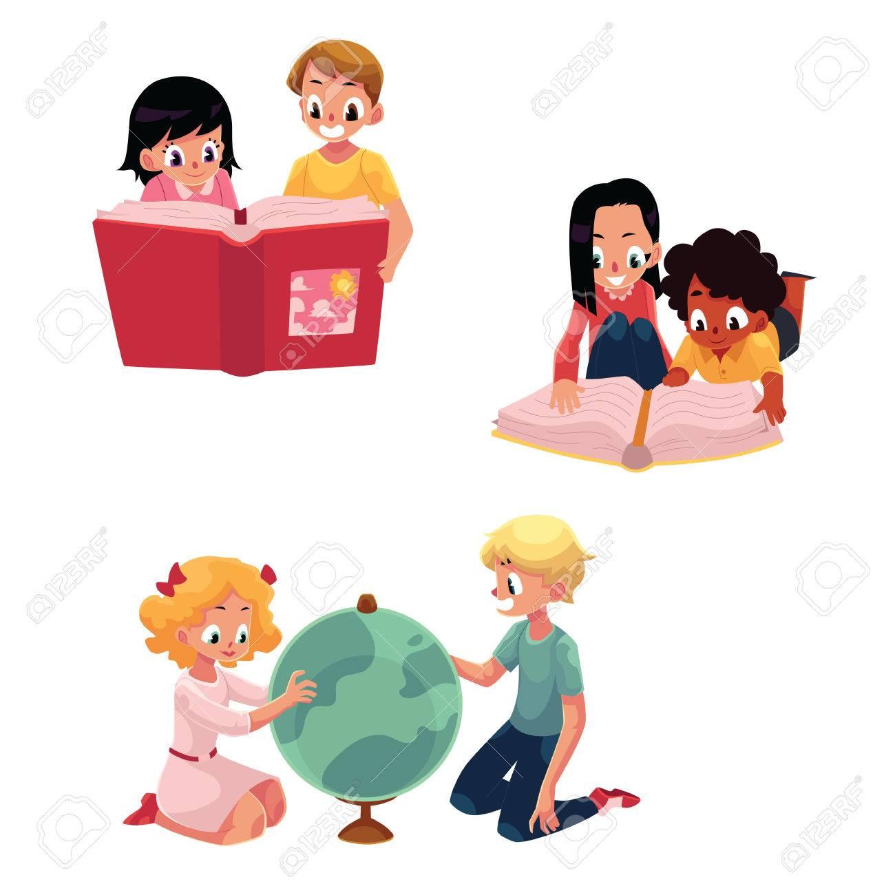 Ninos Ninos Leyendo Estudiando Aprendiendo Juntos Ilustracion
