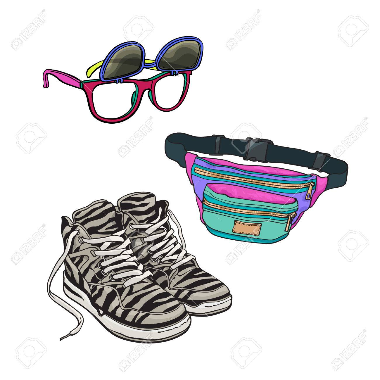 90er Jahre Mode Accessoires Turnschuhe Sonnenbrillen Mit