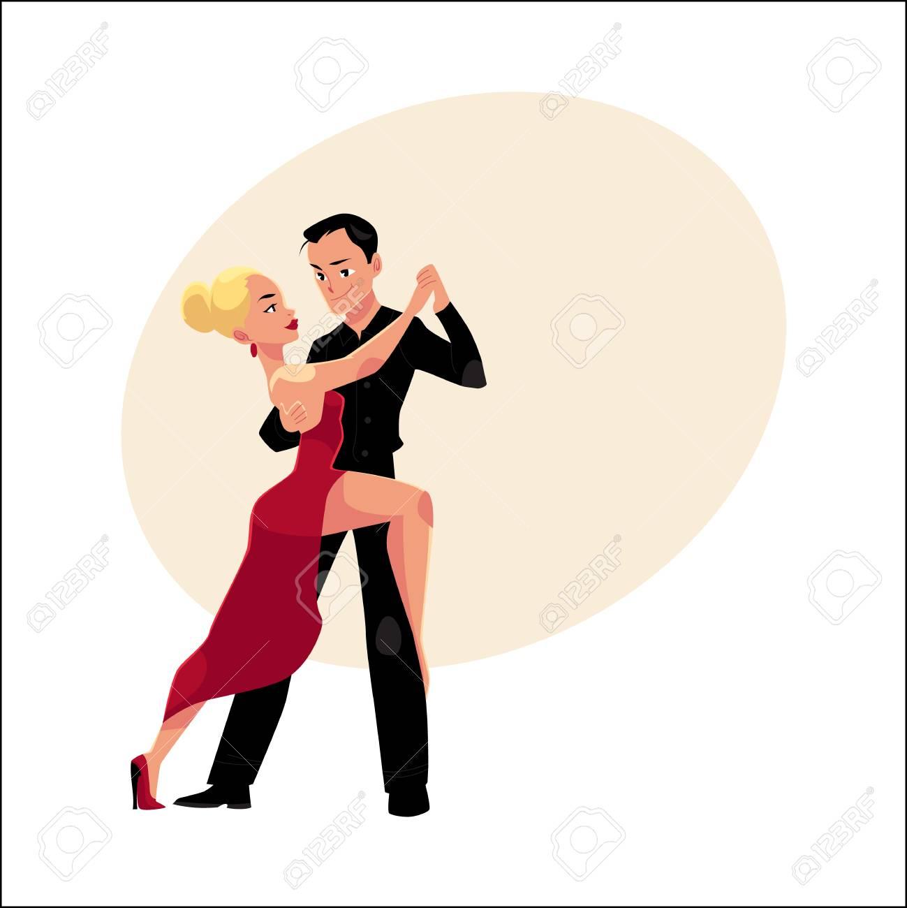 Foto De Archivo Parejas De Bailarines Profesionales Bailando Tango Mirando El Uno Al Otro Ilustracion Vectorial De Dibujos Animados Con Espacio Para