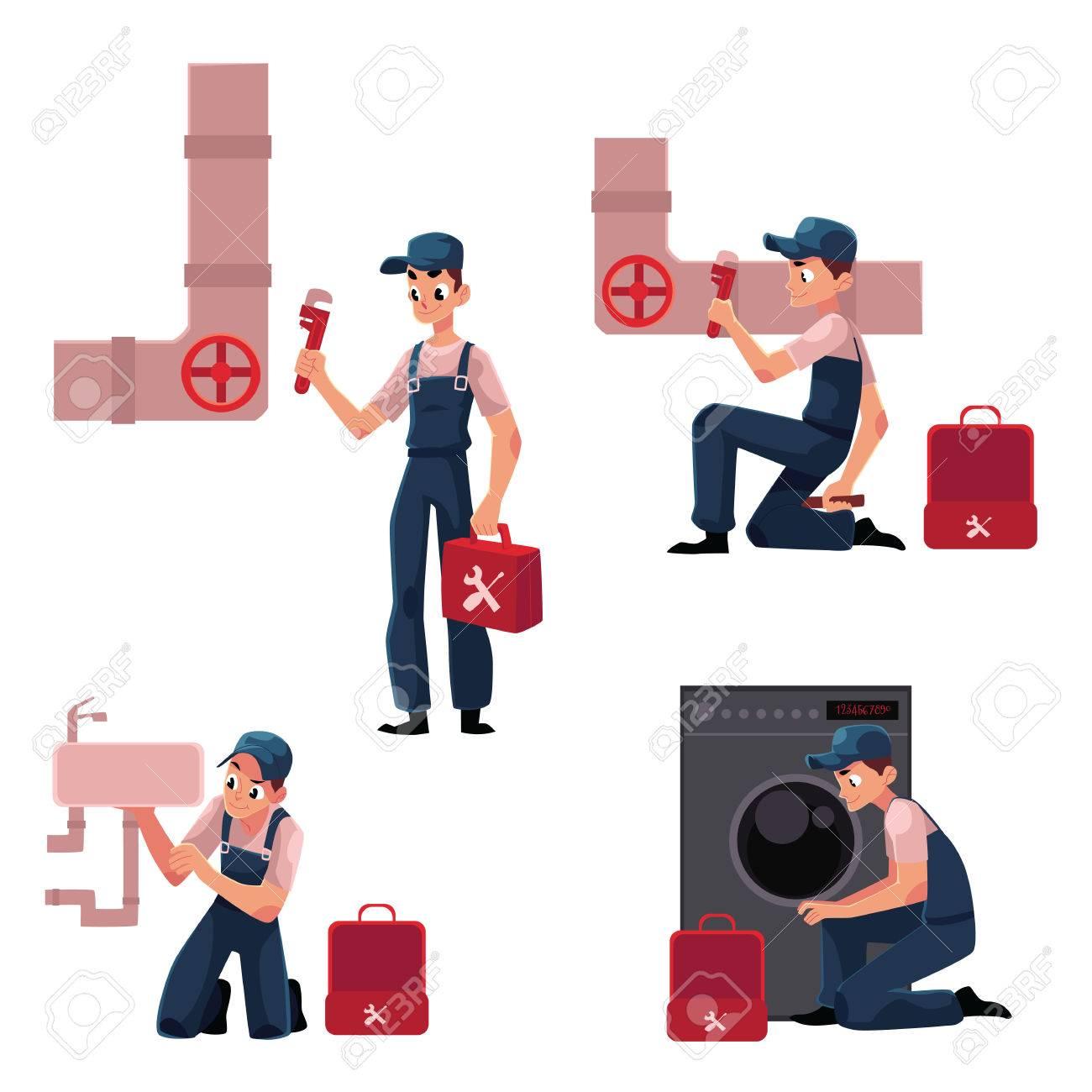 plumbing specialist at work repairing sewage pipes sink washing