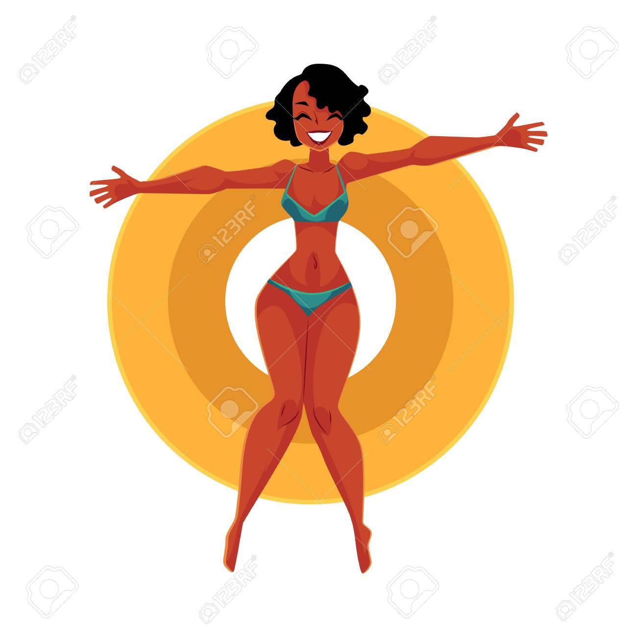Jeune Fille Afro Américaine Noire Femme En Bikini Flottant Sur L Anneau Gonflable Illustration De Vecteur De Dessin Animé Vue De Dessus Isolée Sur