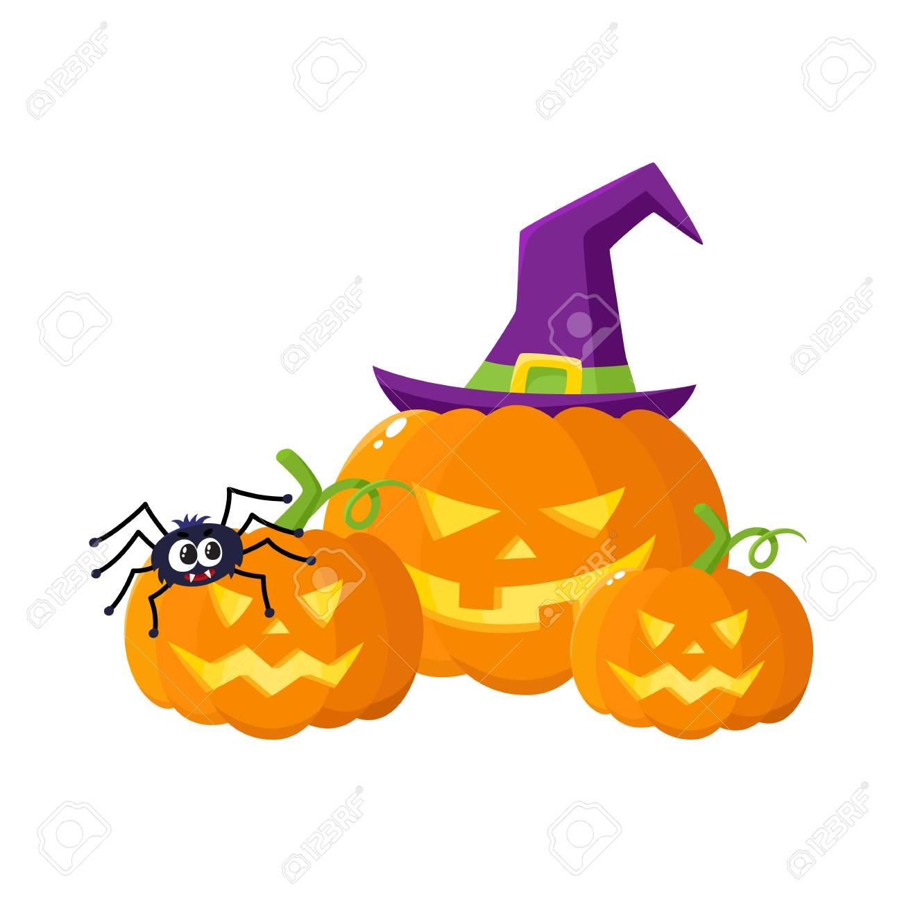 Three Hallowing Jack O Lanterns Pumpkins Big And Small In Royalty Free Cliparts Vectors And Stock Illustration Image 80559755