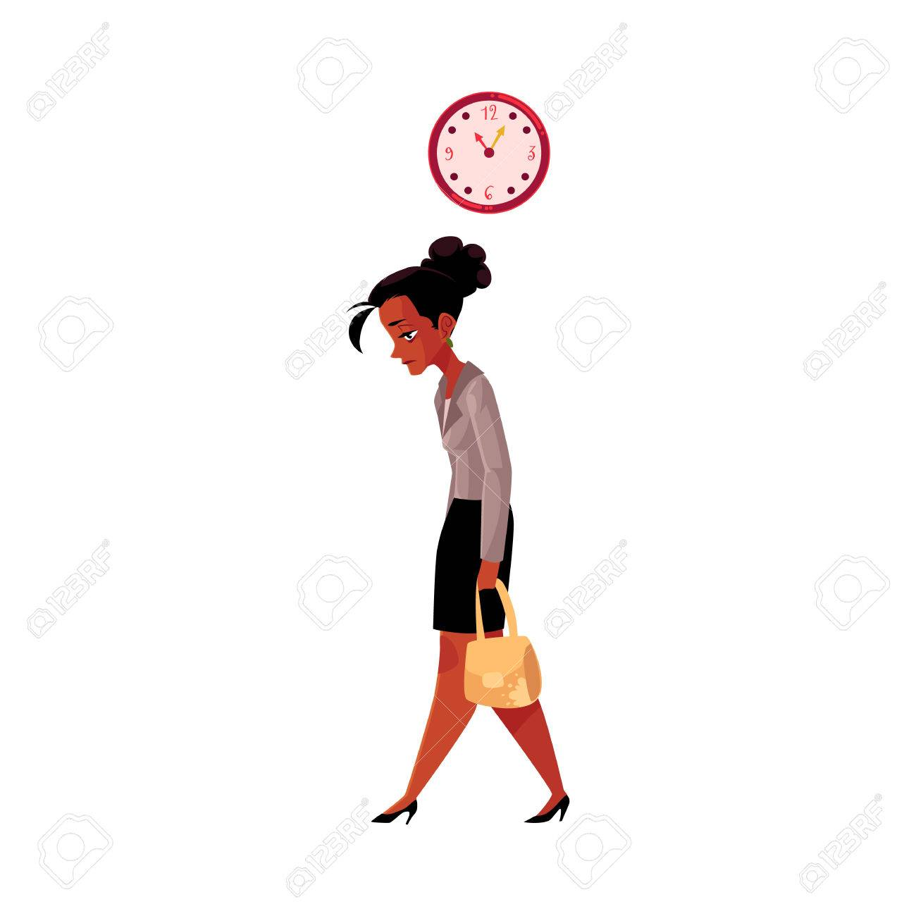 Tired black, African American businesswoman, going home after work, clock showing time, cartoon vector illustration isolated on white background. Black businesswoman sad, tired, going home from work - 80648795