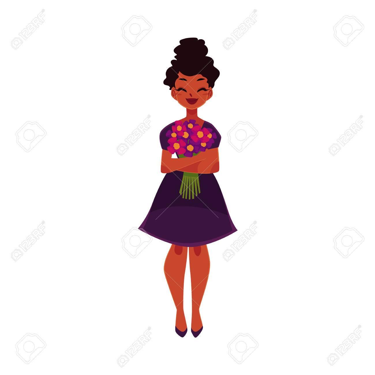 Noir Femme Afro Américaine Fille Tenant Bouquet De Fleurs De Champ Illustration De Vecteur De Dessin Animé Isolé Sur Fond Blanc Portrait De Pleine
