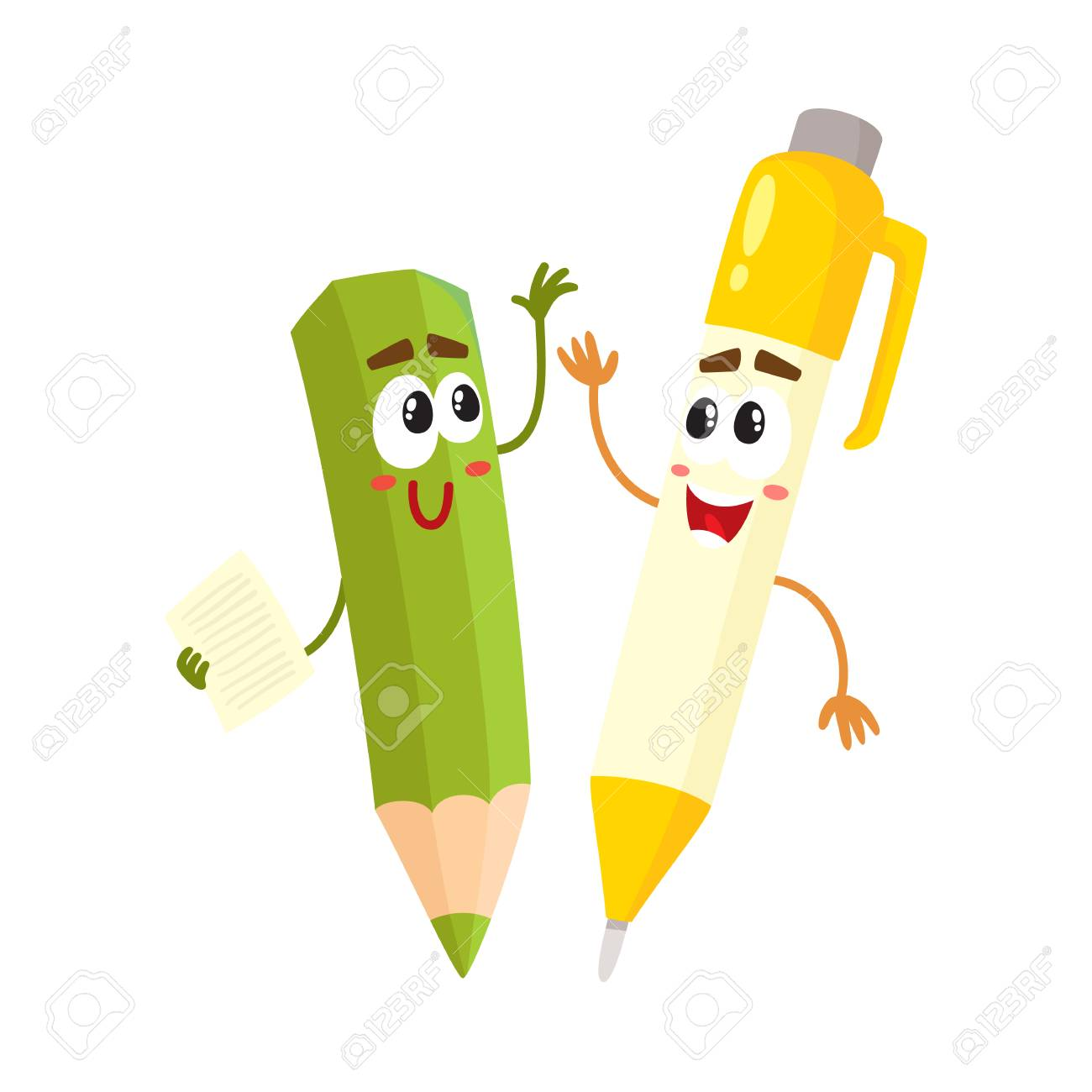 Cute, Funny Pen And Pencil Characters With Smiling Human Faces.. Royalty  Free Cliparts, Vectors, And Stock Illustration. Image 80785204.