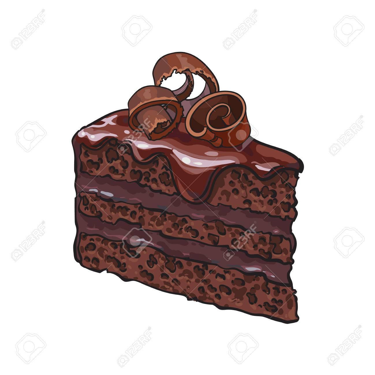 Piece Dessinee Main De Gateau Au Chocolat En Couches Avec Glacage