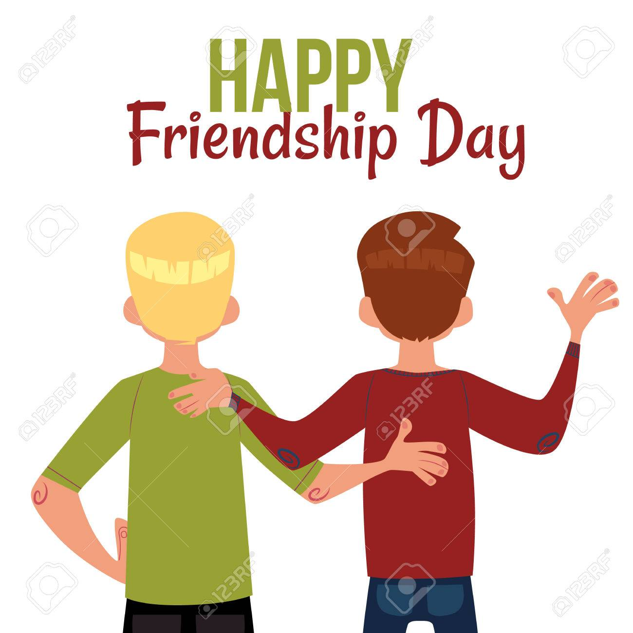 Happy friendship day greeting card with back view of two men happy friendship day greeting card with back view of two men friends hugging cartoon m4hsunfo