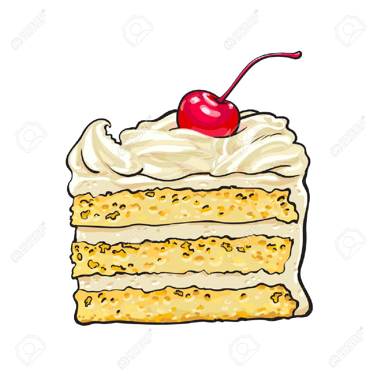 Hand drawn piece of classic layered cake with vanilla cream and cherry decoration, sketch style vector illustration isolated on white background. Realistic hand drawing of piece, slice of layered cake - 80975660