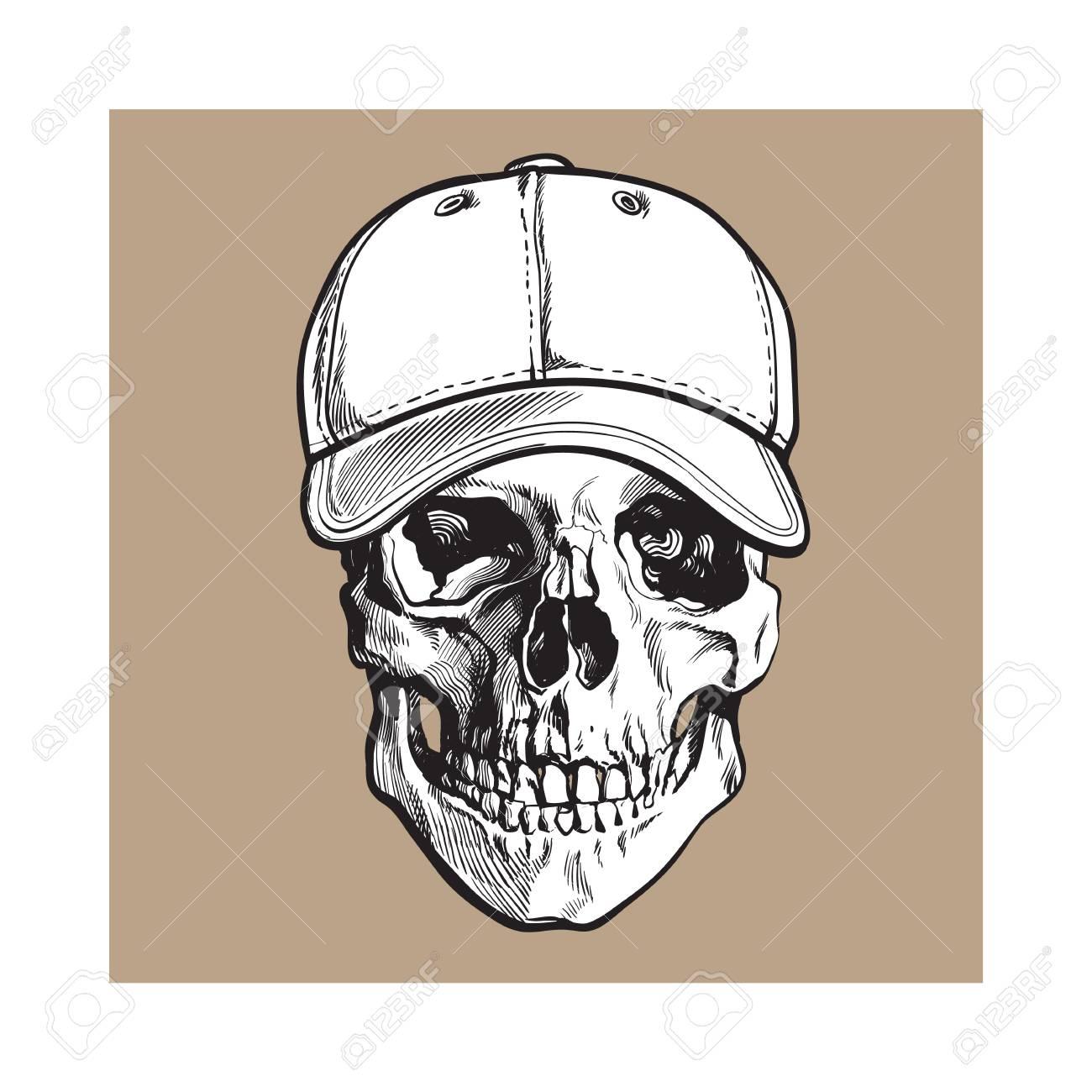 Dé El Cráneo Humano Exhausto Que Desgasta La Gorra De Béisbol No ...
