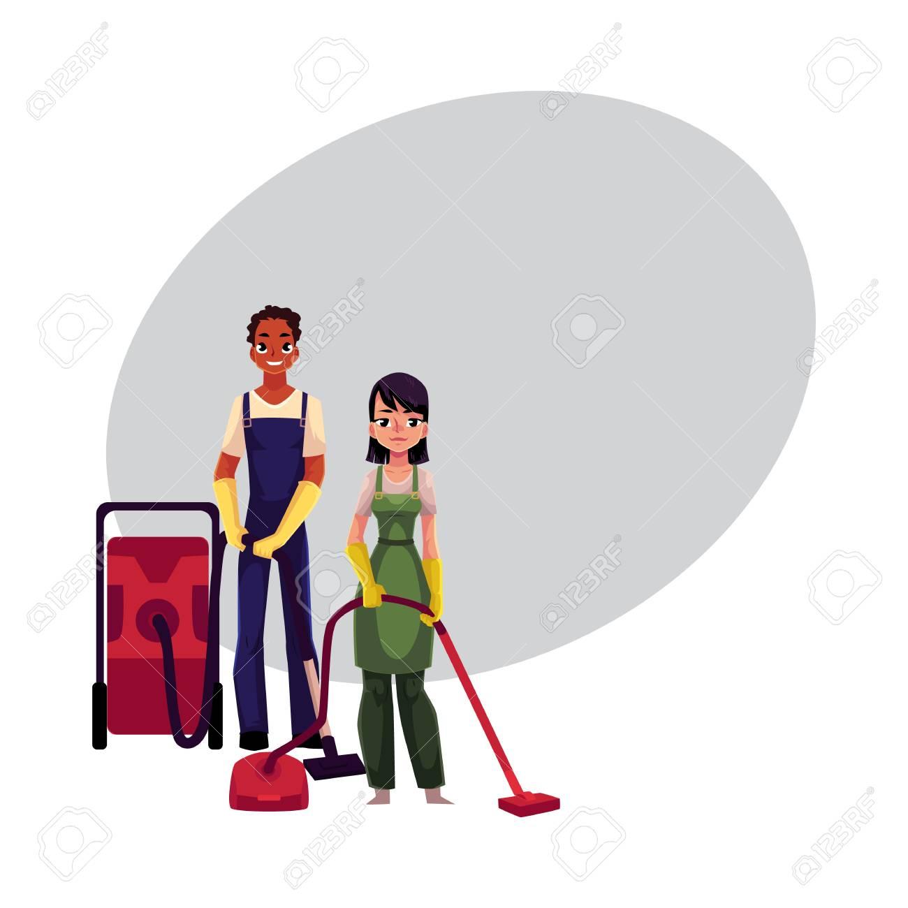 Personnel de service de nettoyage dans des combinaisons, homme et femme, garçon et fille, utilisant des aspirateurs, illustration de vecteur de dessin