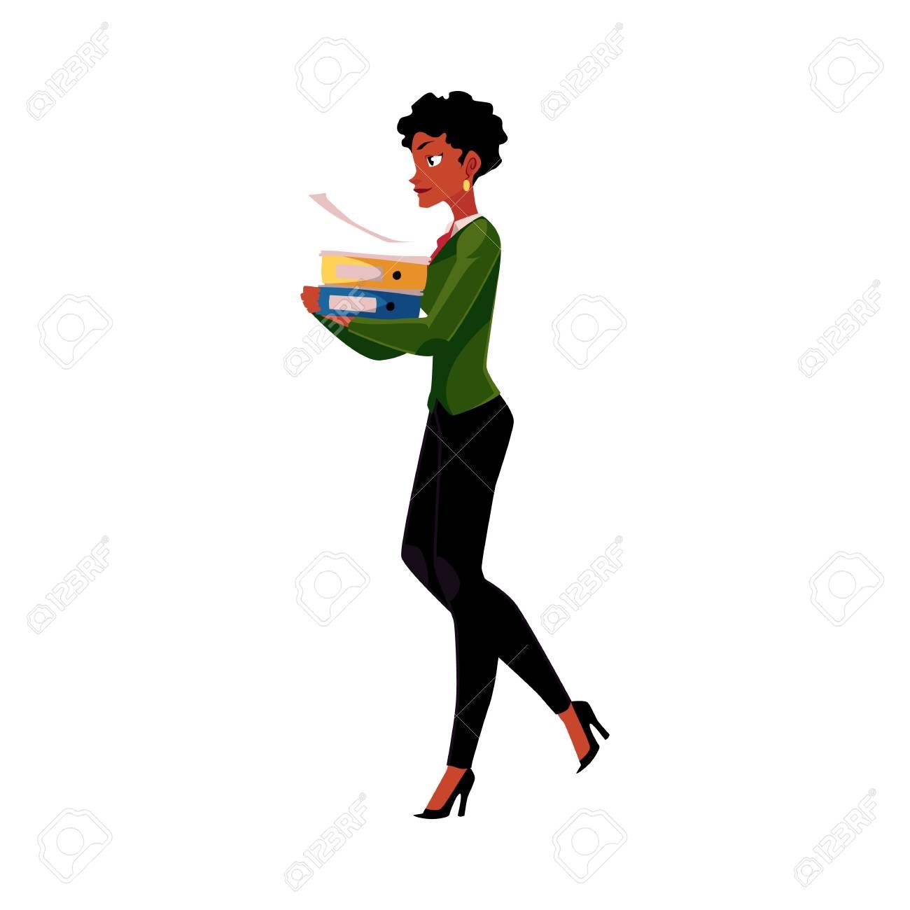 Young Pretty Black Femme D Affaires Afro Américaine Femme Fille Portant Des Dossiers De Documents Lourds Illustration De Vecteur De Dessin Animé