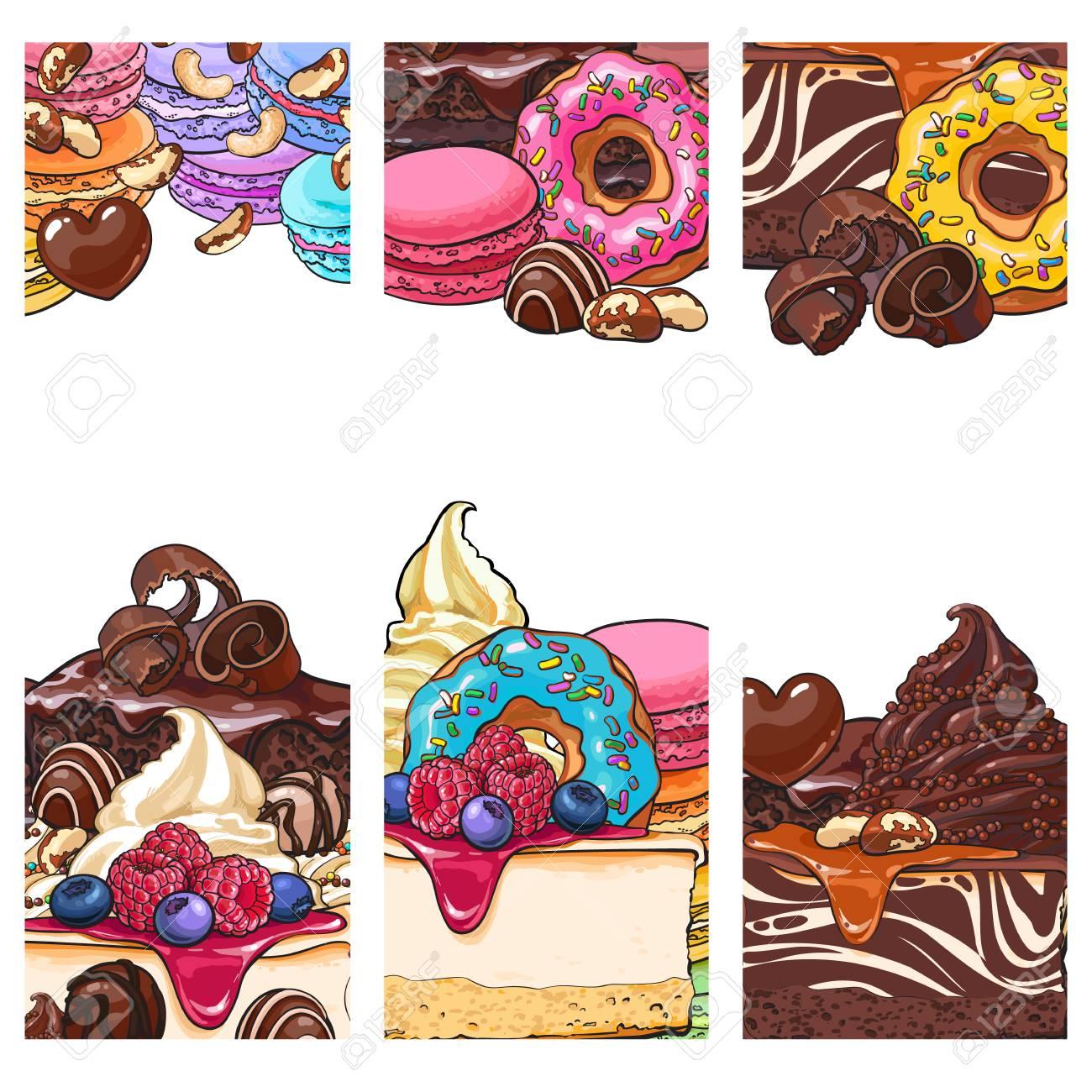Drei Banner, Etikett, Postkarten Vorlagen Mit Kuchen, Desserts ...