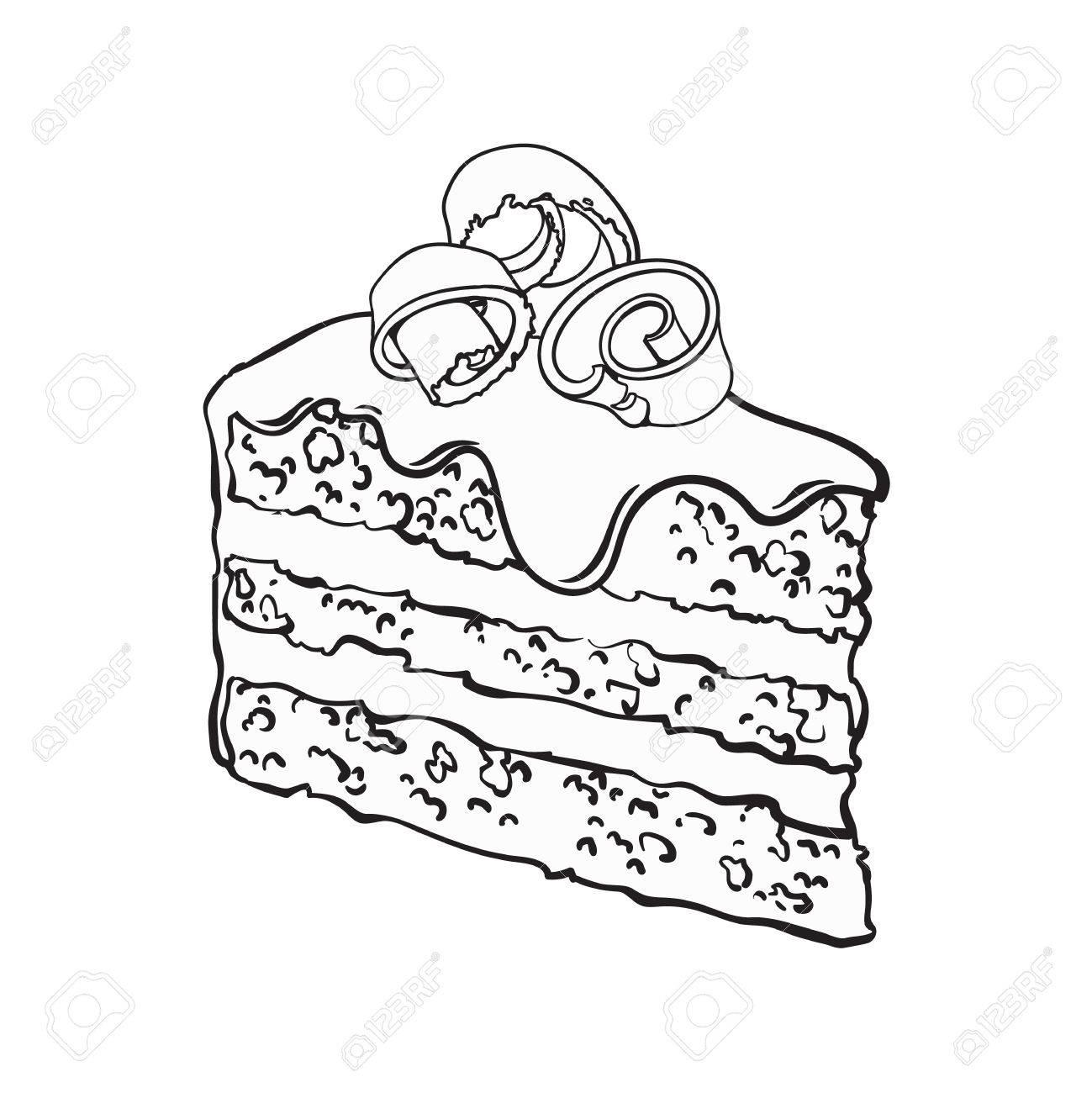 Morceau Dessiné à La Main Noir Et Blanc De Couche De Gâteau Au Chocolat Avec Glaçage Et Copeaux Illustration De Vecteur De Style Croquis Isolé Sur