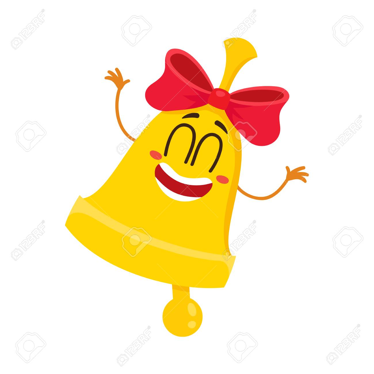 e52206698 Cute and funny golden school bell character with red ribbon and smiling  human face, cartoon