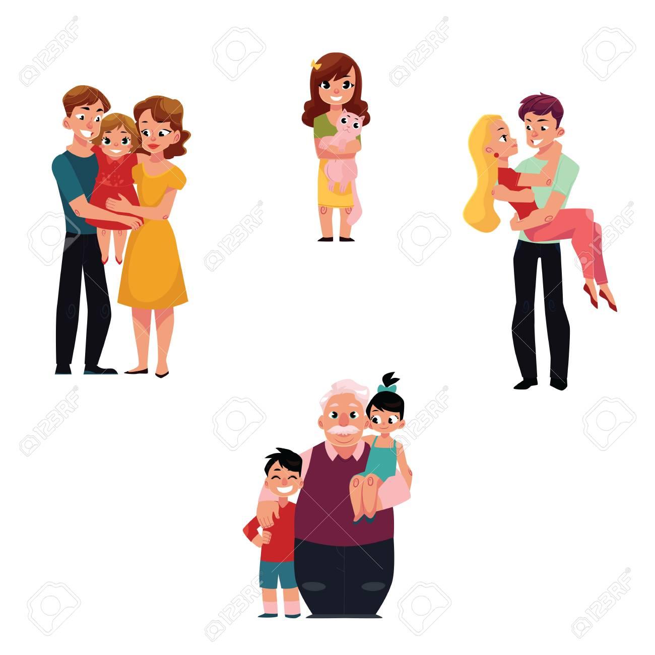 Membres De La Famille Parents Embrassant La Fille Grand Père Avec Petits Enfants Petite Fille Tenant Un Animal De Compagnie De Chat Aimer Le