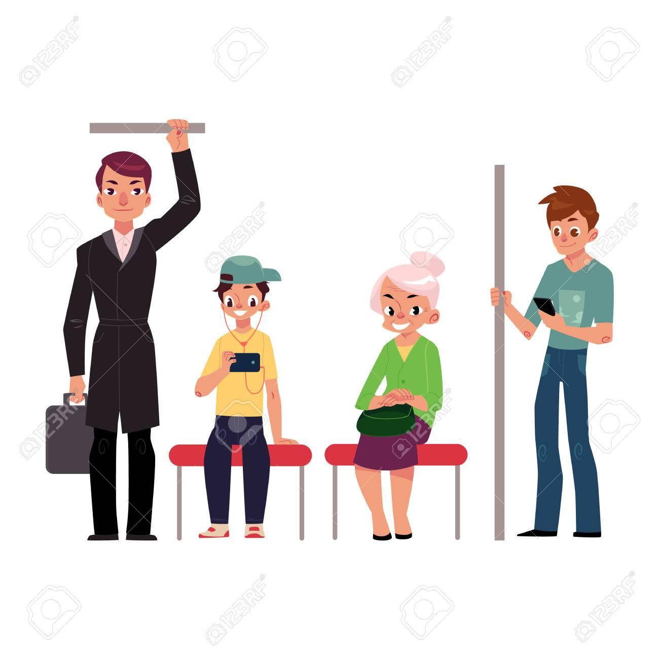 la gente joven y viejo sentado y de pie en el tren de metro