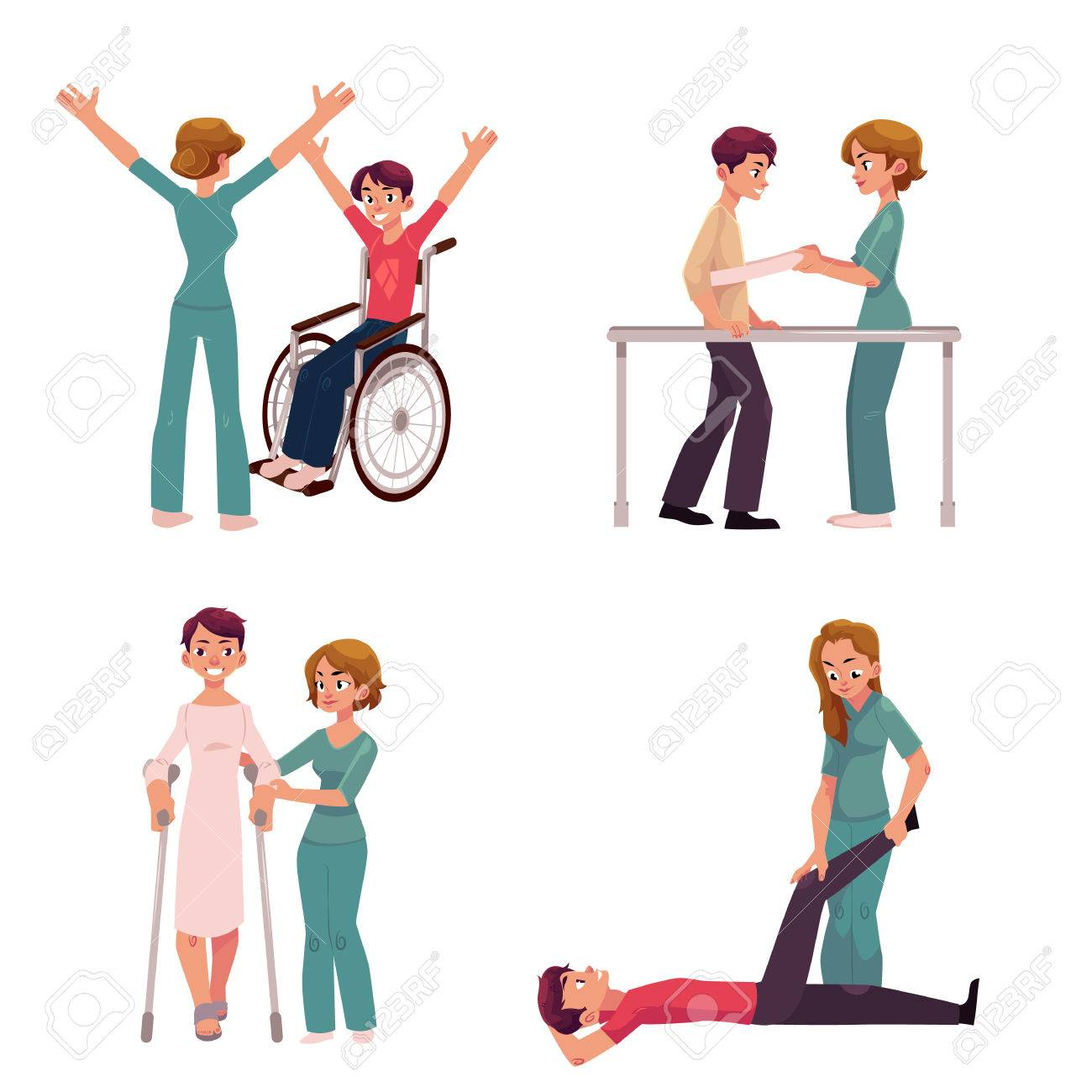 Medical rehabilitation, physical therapy activities, physiotherapist working with patients, cartoon vector illustration on white background. Medical rehabilitation, physical therapy, nurse, patients - 81477228