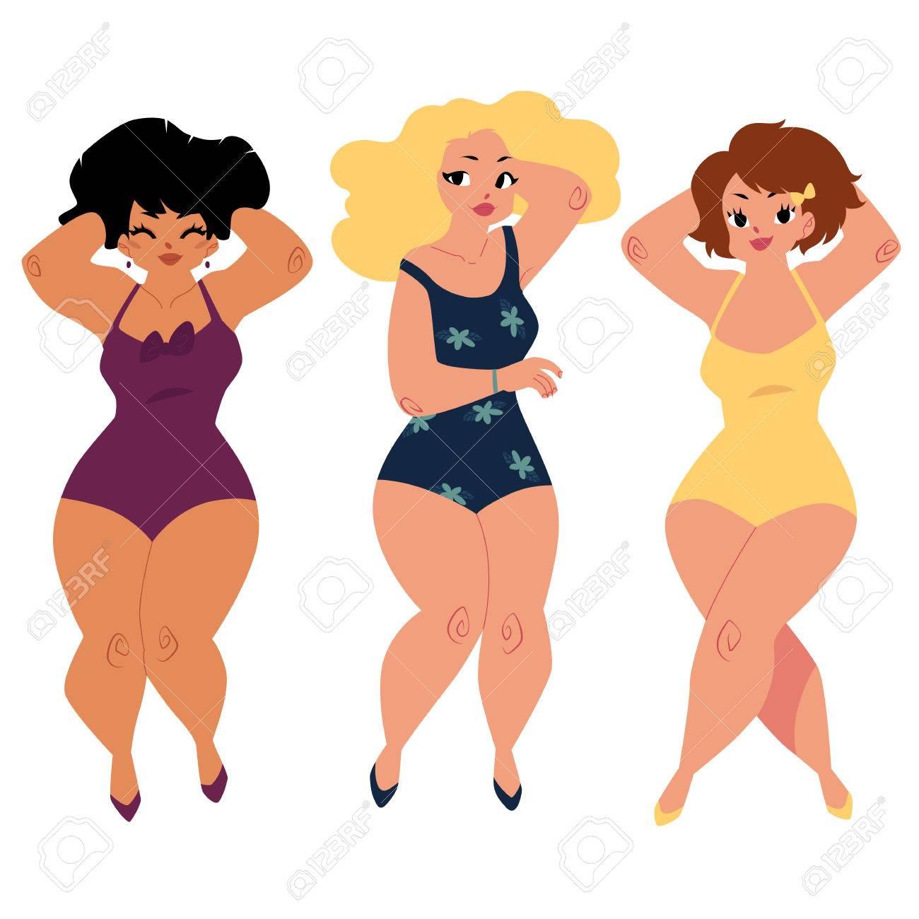 Trois Femmes Grasses Courbées Des Filles Des Modèles De Taille Plus En Costumes De Bain Une Illustration Vectorielle De Dessin Animé Haut De Page