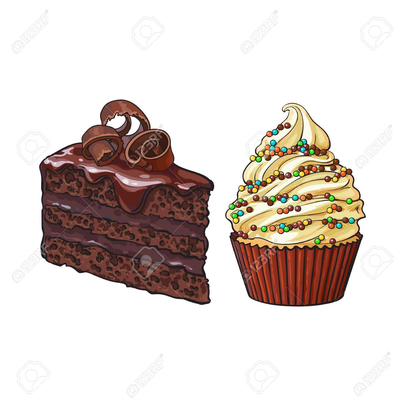 Desserts Dessines A La Main Cupcake Et Morceau De Gateau Au
