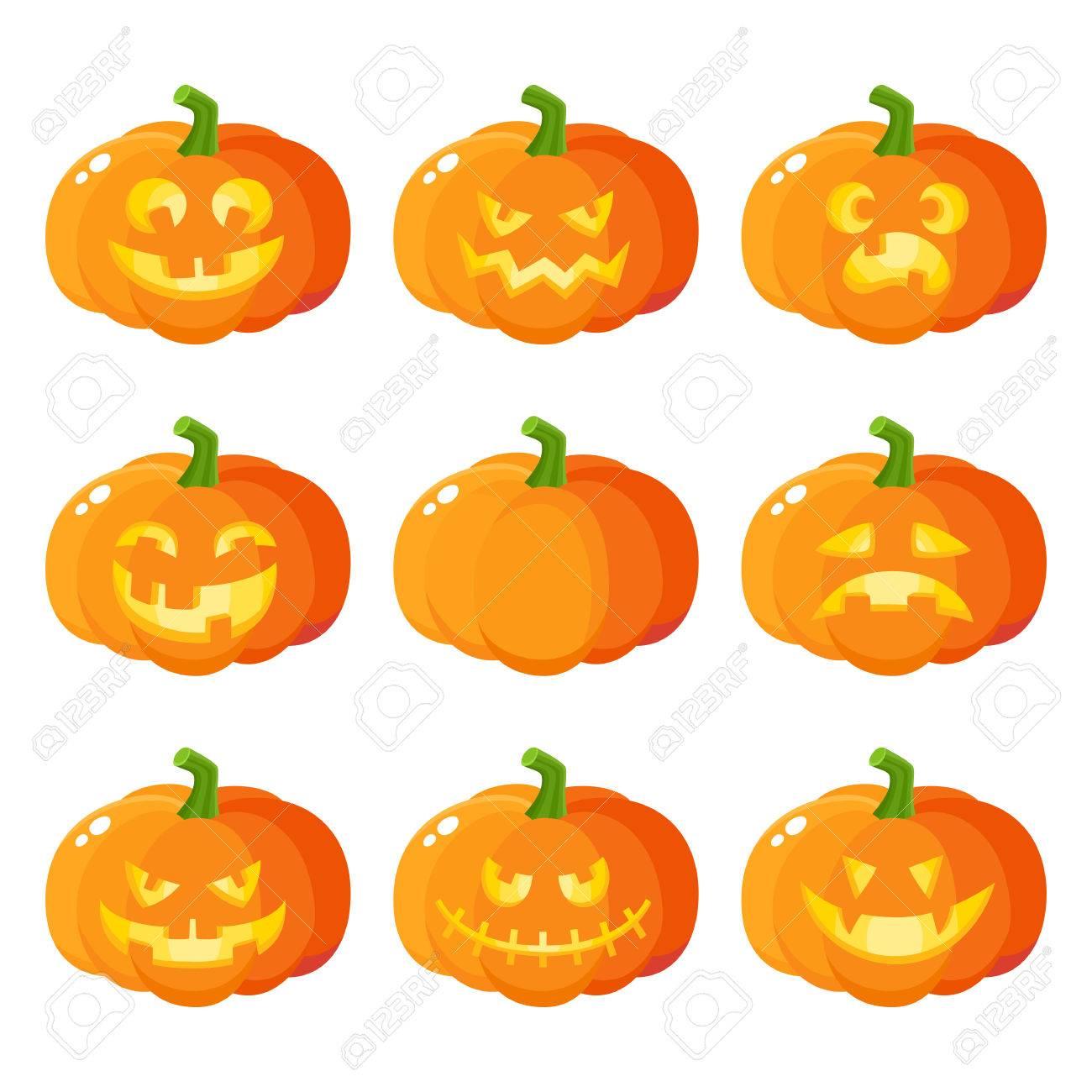 Set of Halloween pumpkin jack-o-lanterns showing various emotions, cartoon vector illustration isolated on white background. Set of pumpkin, jack o lantern emoticons, traditional Halloween symbol - 81452745