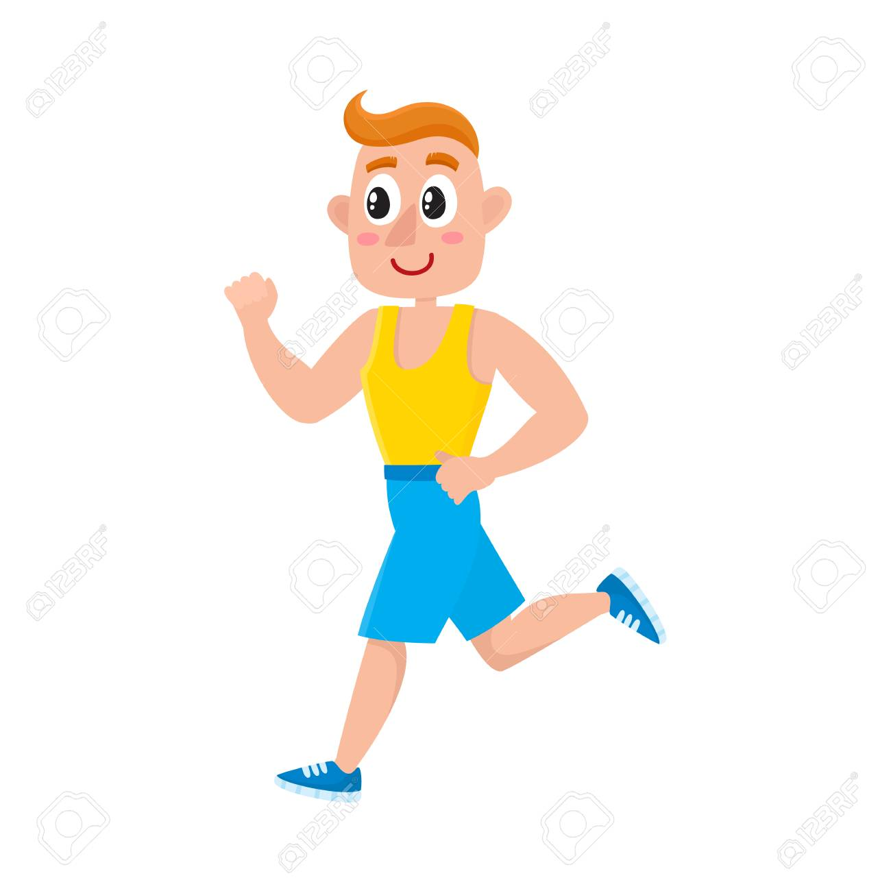 Young Man Running Training In Gym Doing Sport Exercises Cartoon Royalty Free Cliparts Vectors And Stock Illustration Image 81809588