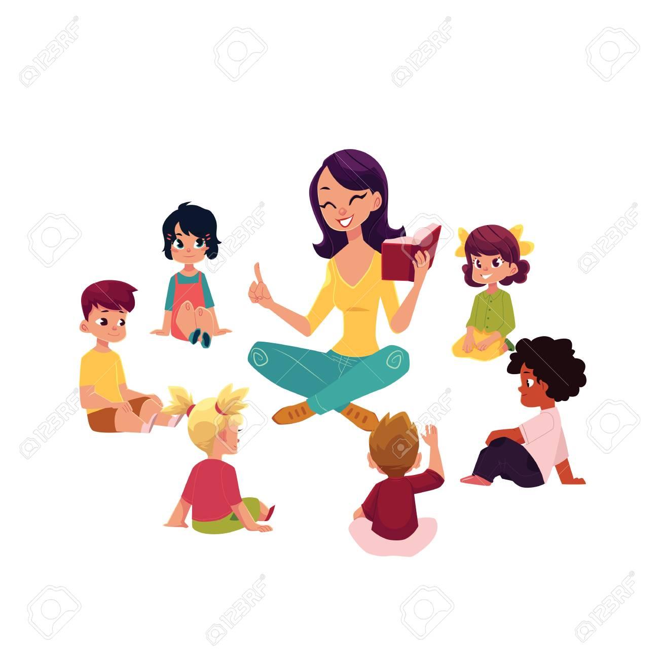Kindergarten Kids Sitting Around Teacher Reading A Book Cartoon
