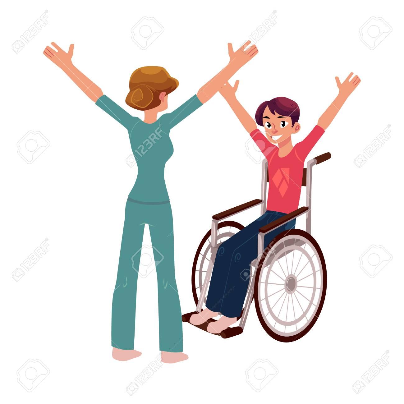 医学的リハビリテーション車椅子の若い人と改善体操療法士漫画の白い