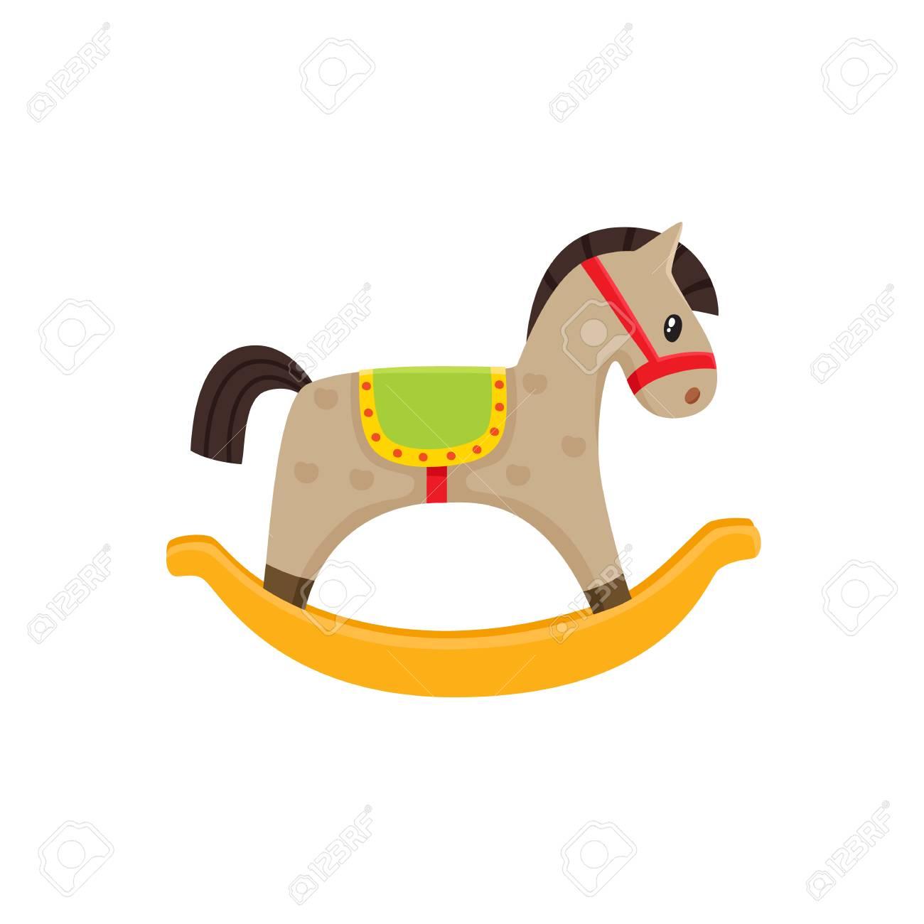 Illustration de plat jouet vecteur cheval à bascule. Cheval enfant en bois, jouet de poney coloré isolé sur fond blanc. Concept d'éducation, de