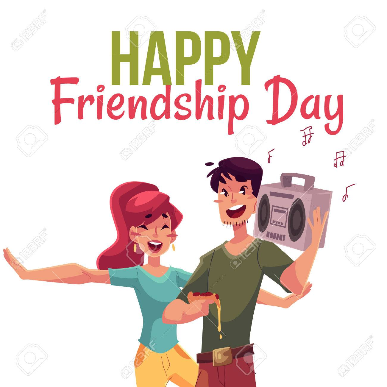 Gentil Happy Friendship Day Greeting Card Design With Friends Having Fun At A  Party, Cartoon Vector