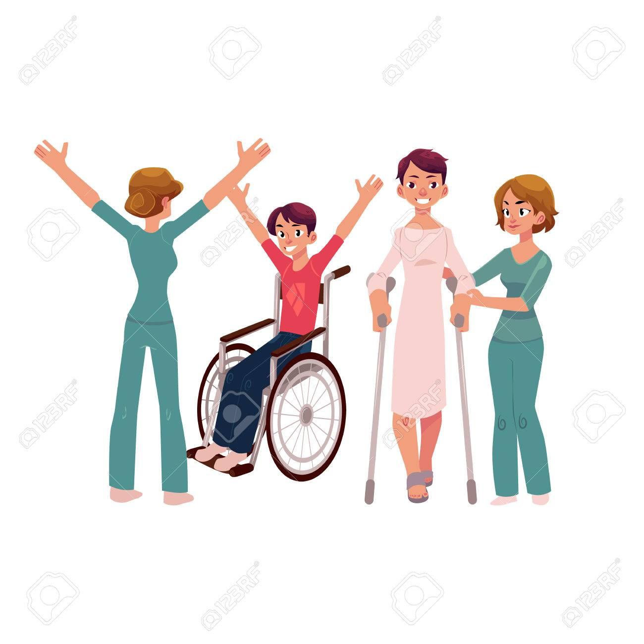 医学的リハビリテーションクランチ車椅子患者を助ける白い背景の