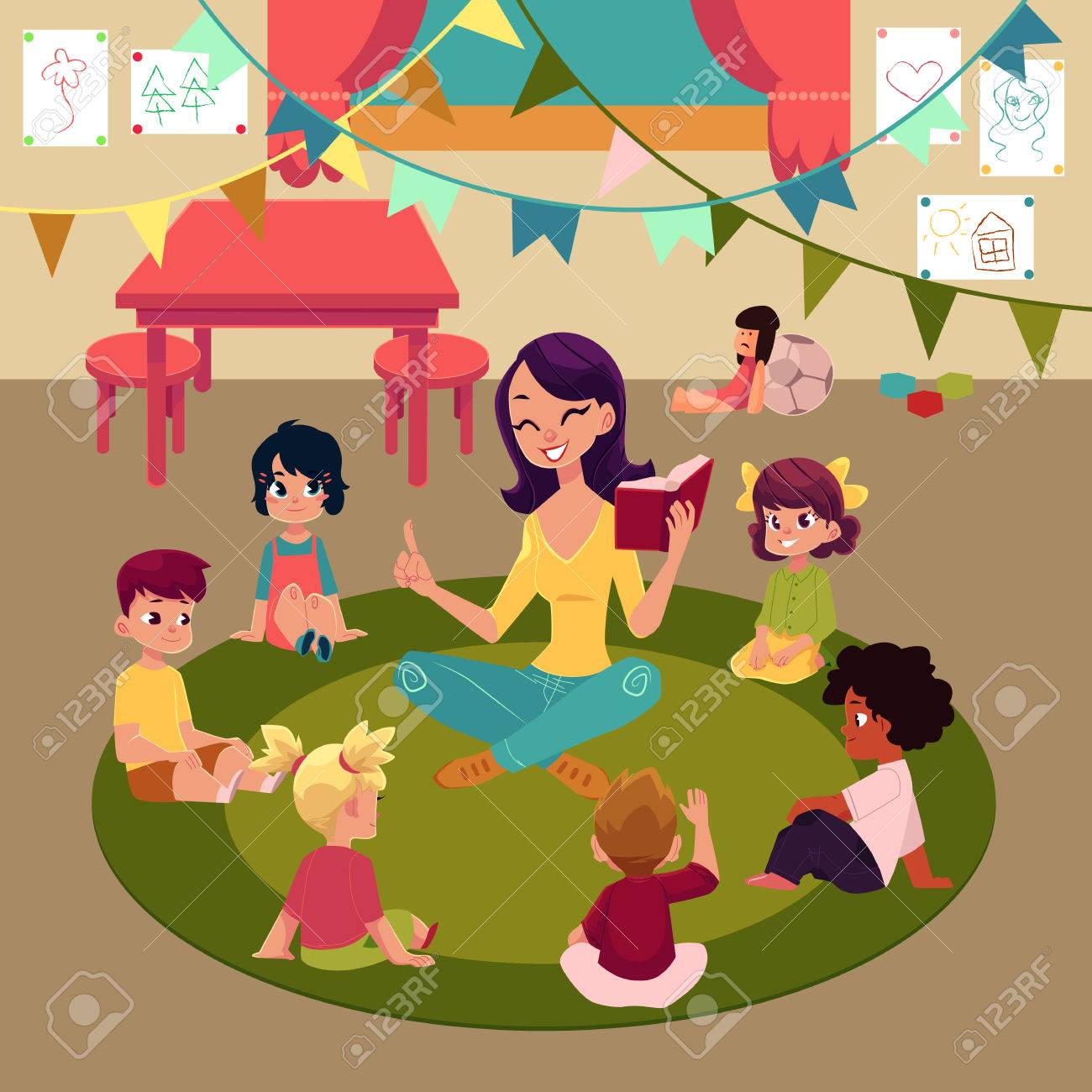Kindergarten kids sitting in classroom around teacher who reads them book, cartoon vector illustration. Female teacher read book to kids sitting around, listening with interest, kindergarten interior - 82257244