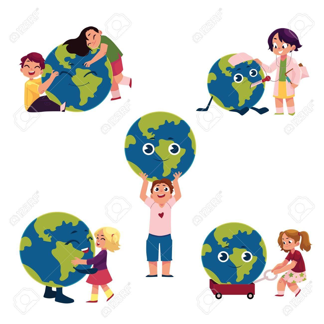 Enfants Garçons Et Filles étreignant Tenant Jouant Avec Le Globe Planète Terre Illustration De Vecteur De Dessin Animé Isolé Sur Fond Blanc Les
