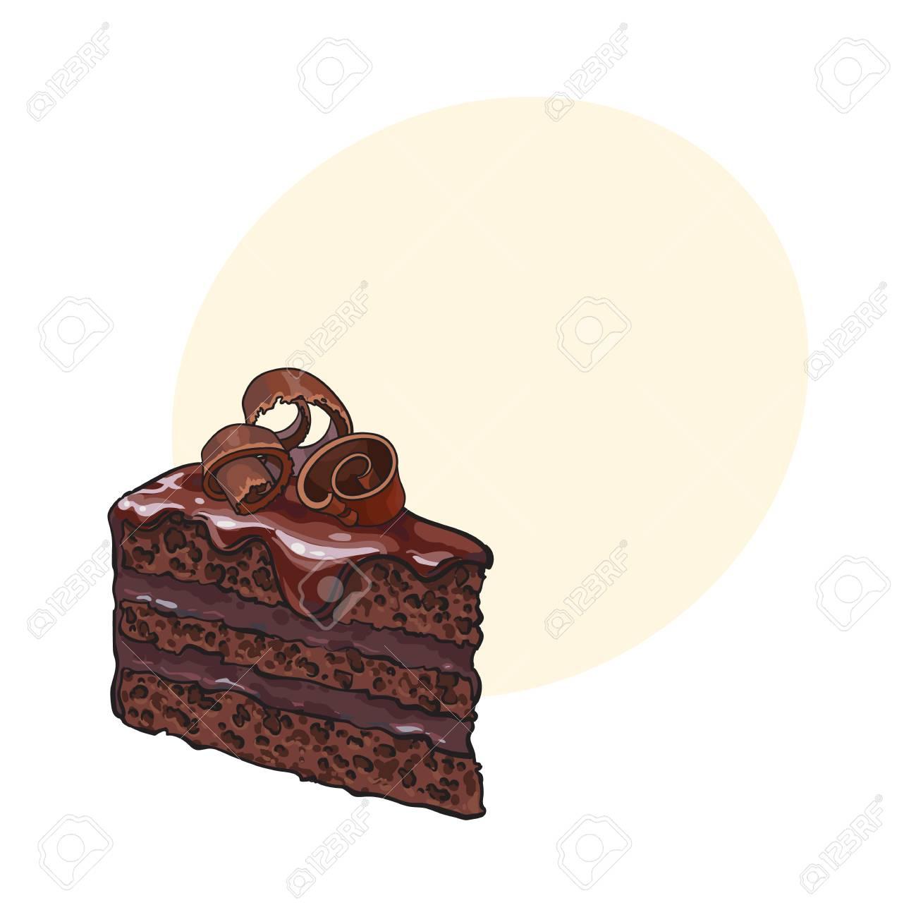 Mano Dibujada Pieza De Pastel De Chocolate En Capas Con Glaseado Y ...